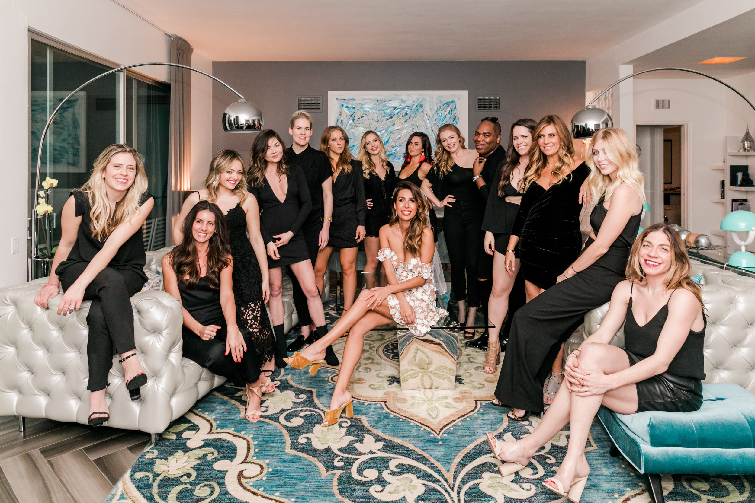 Bachelorette Party Ideas: all black outfits + bride in white - Everyday Pursuits   Palm Springs Bachelorette Party