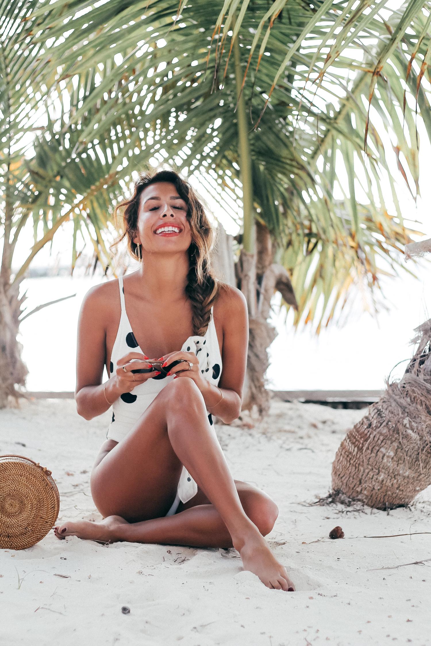 Zara Polka Dot One-Piece Swimsuit   Matachica Resort, Belize