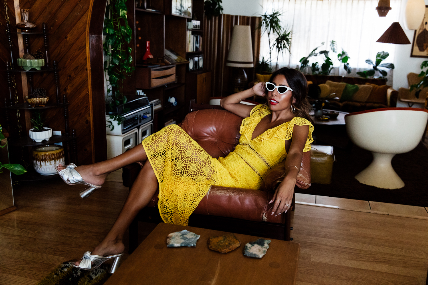 Everyday Pursuit in Saylor Yellow Dress and Loeffler Randall Coco Mules