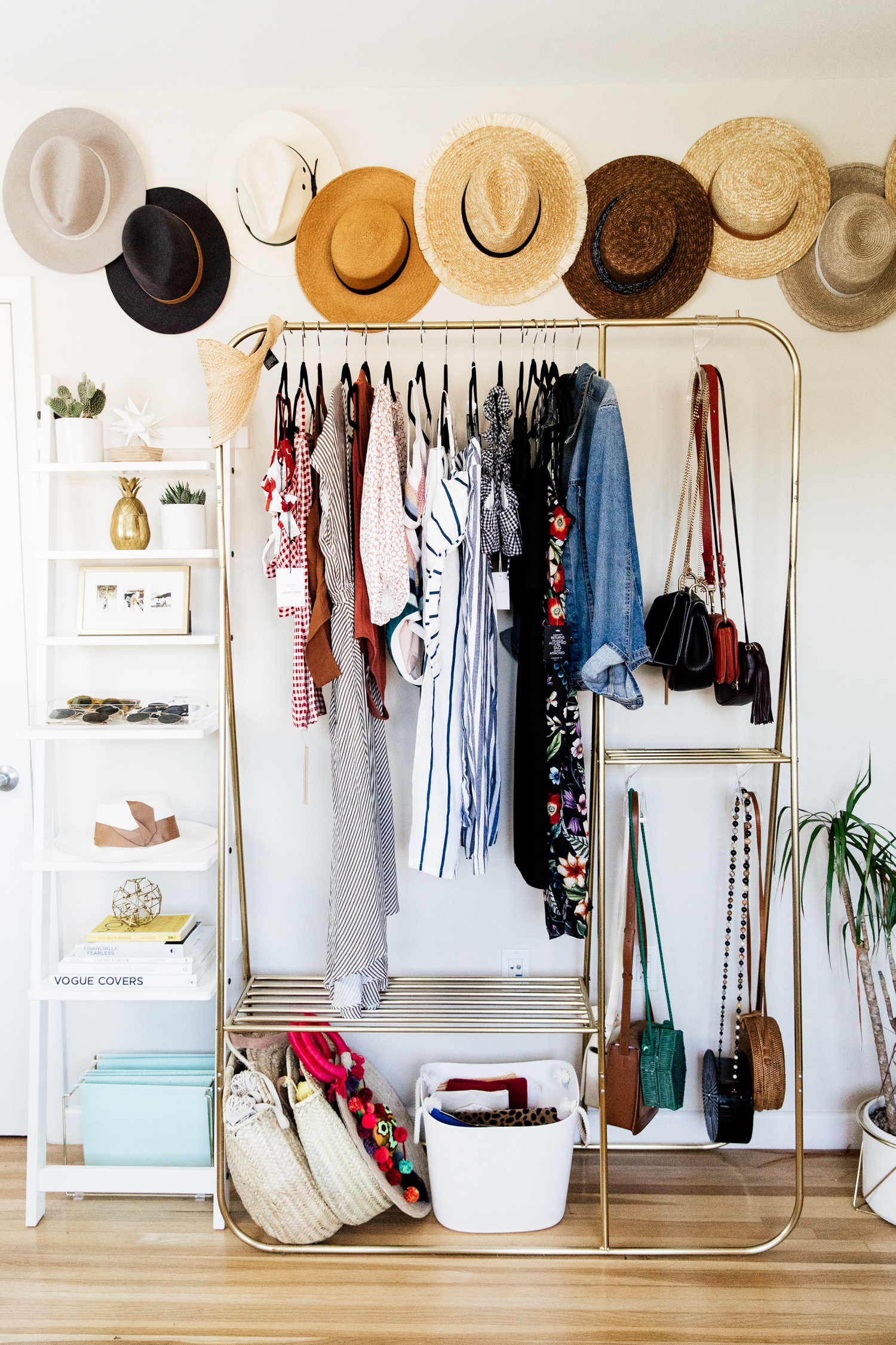 DIY Hat Wall and Gold Hanging Rack from Urban Outfitters