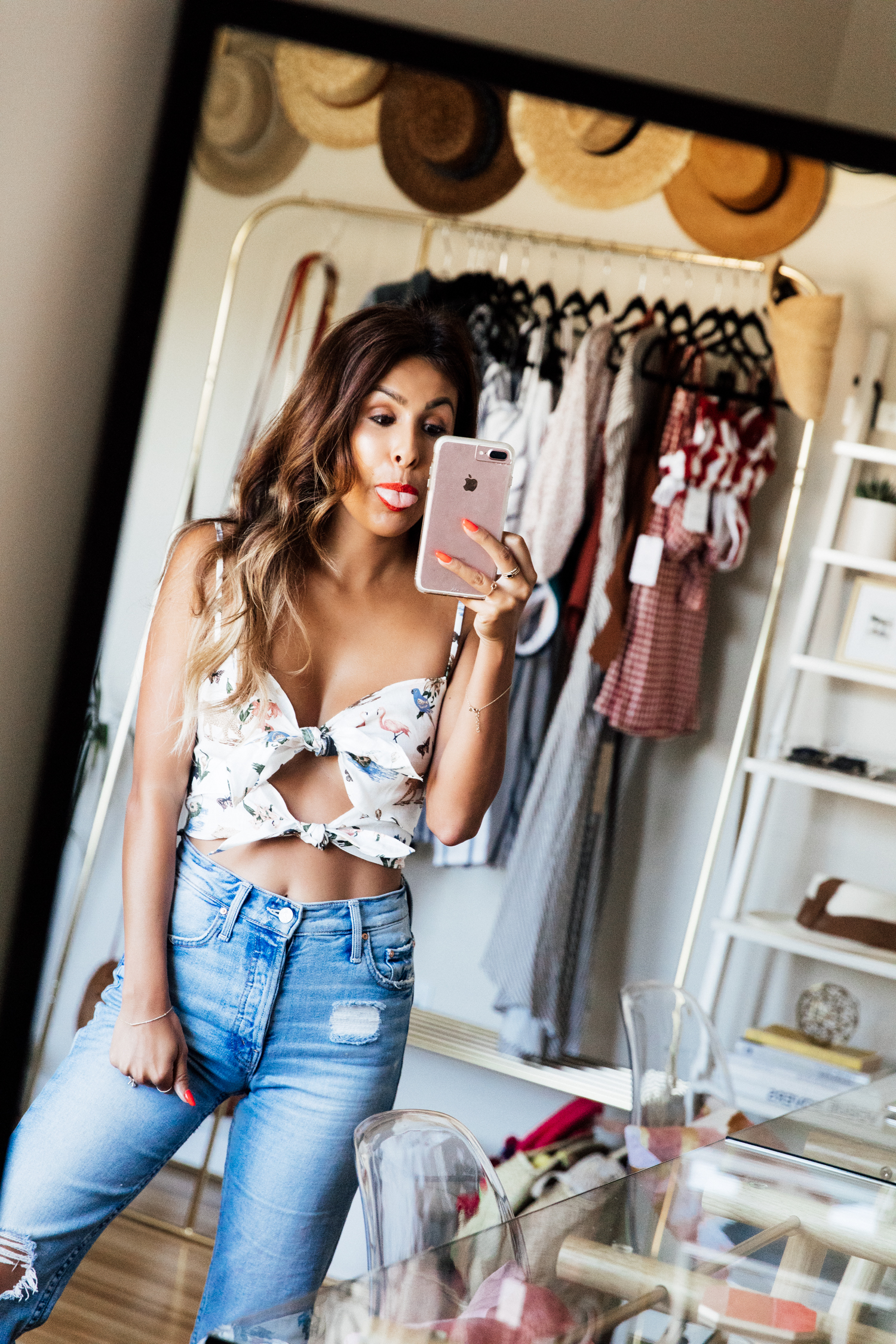 Everyday Pursuits in Mother Denim + Reformation Crop Top