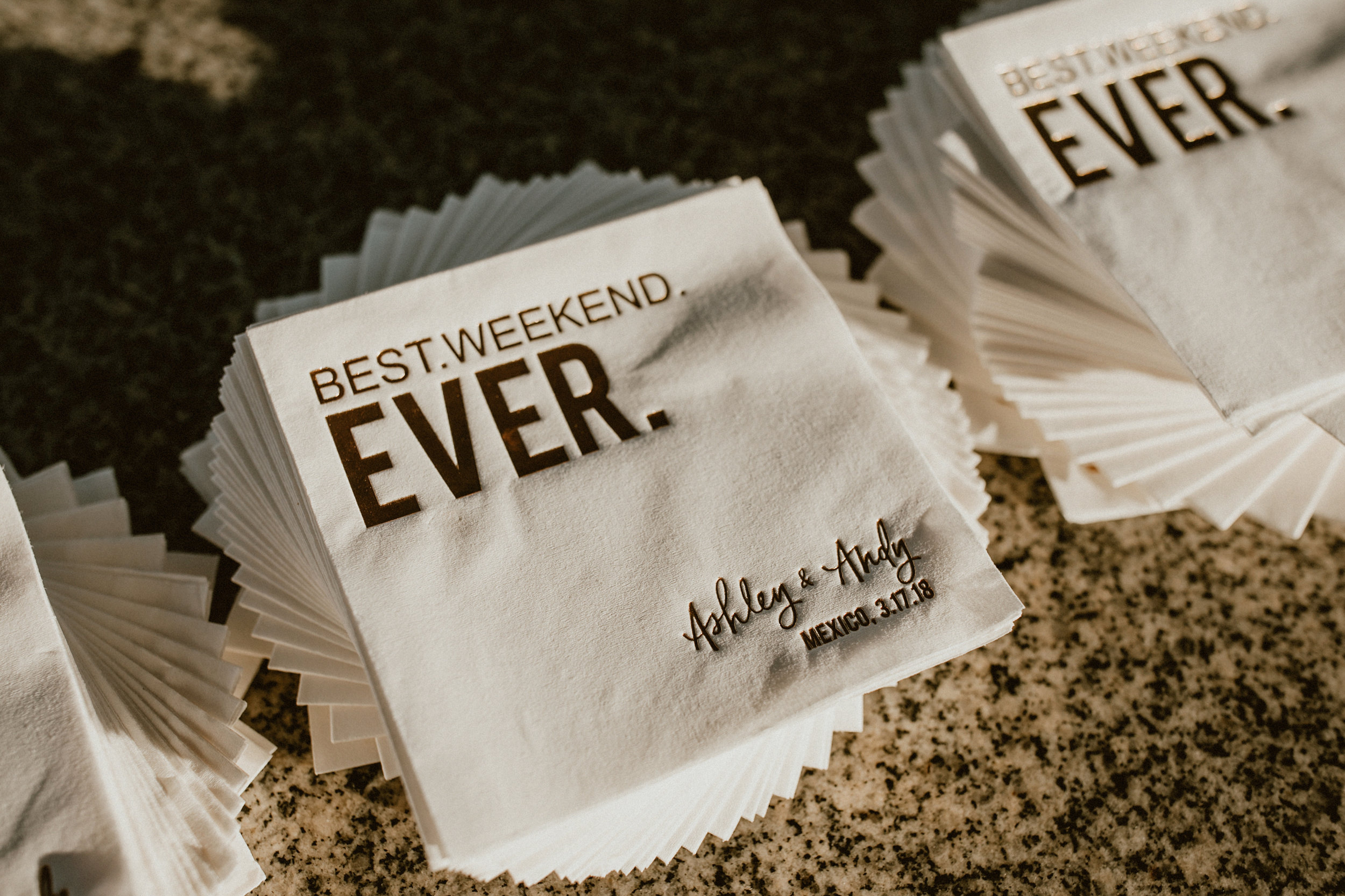 Custom wedding weekend napkins by For Your Party.