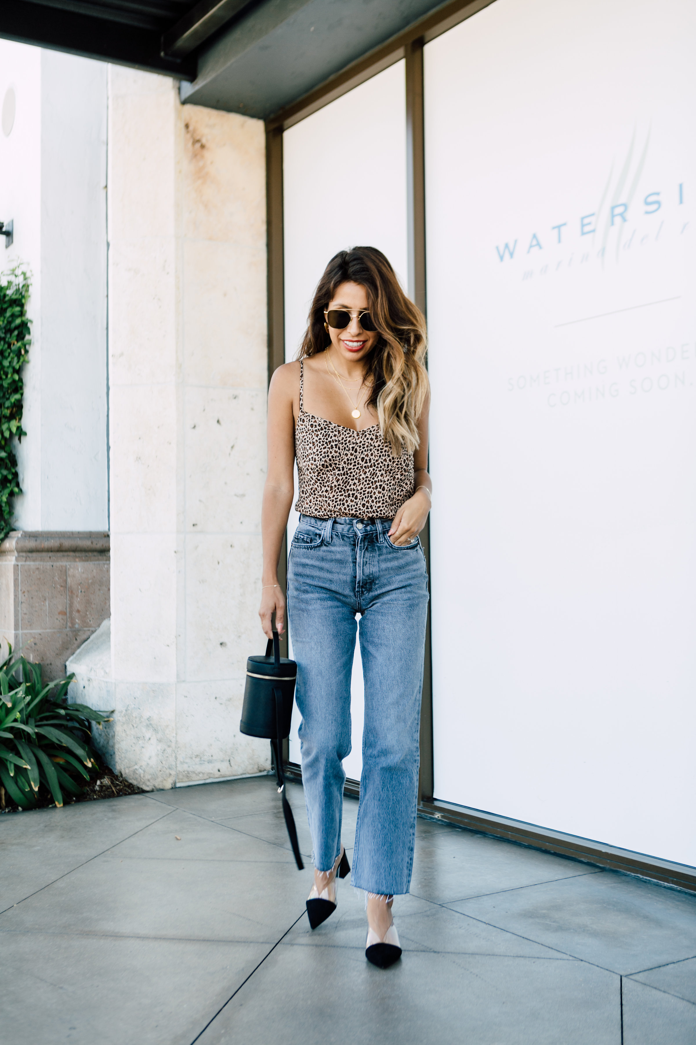 Petite Style: Mom Jeans + Leopard Cami. Wearing Zara, Nordstrom, and August the Label