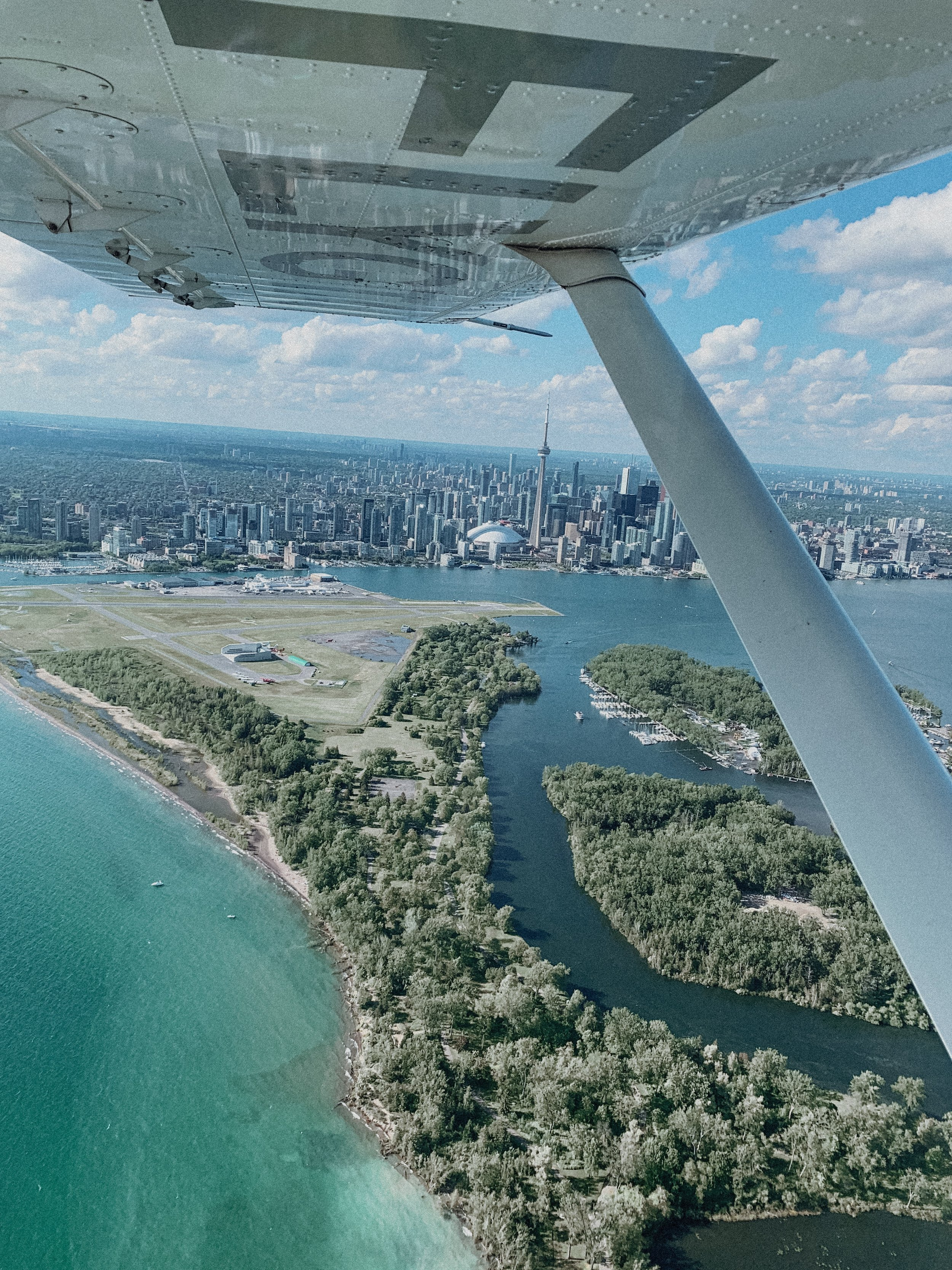 View of Toronto from prop plane