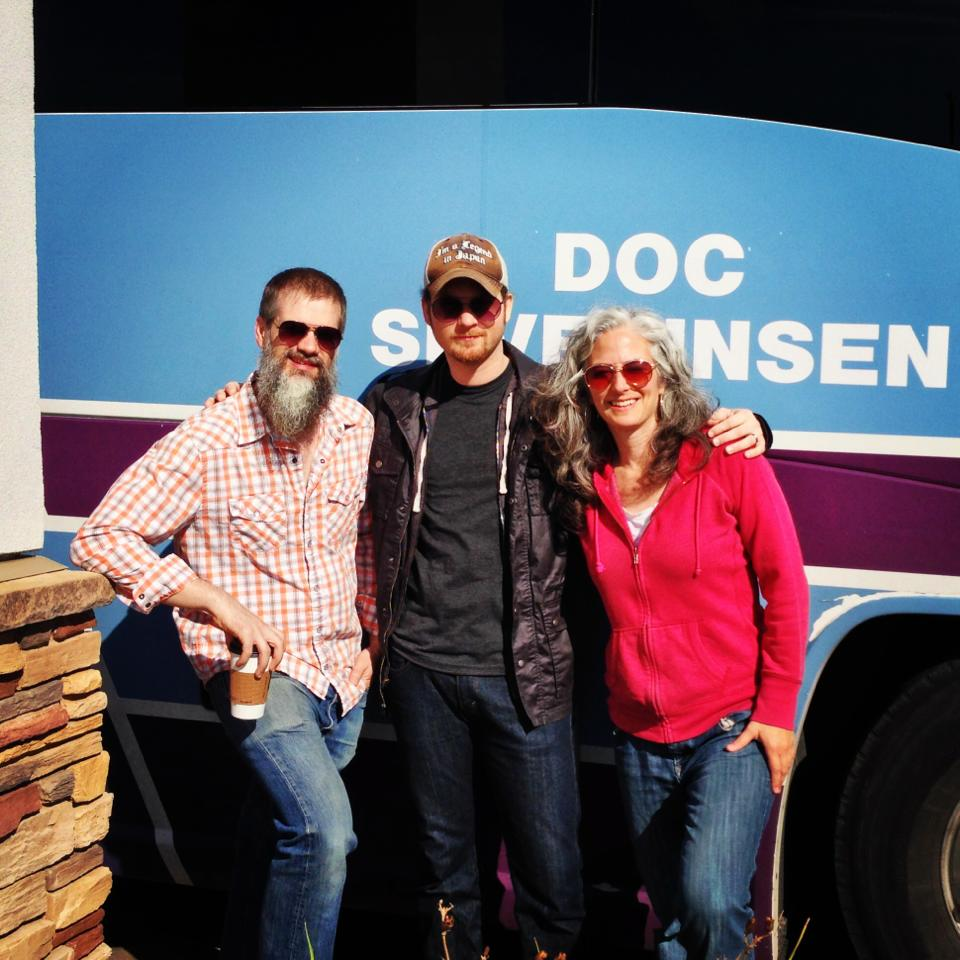 Doc Severinsen's rhythm section - bassist Kevin Thomas, drummer Stockton Helbing, and pianist Mary Louise Knutson - stretching their legs before they get back on the tour bus.