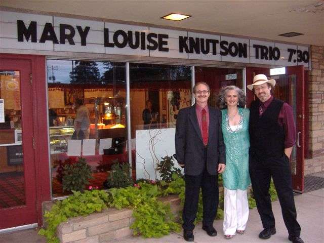 Mary Louise Knutson Trio, Park Theatre, Hayward, WI. Drummer Jay Epstein, pianist Mary Louise Knutson, and bassist Gary Raynor.