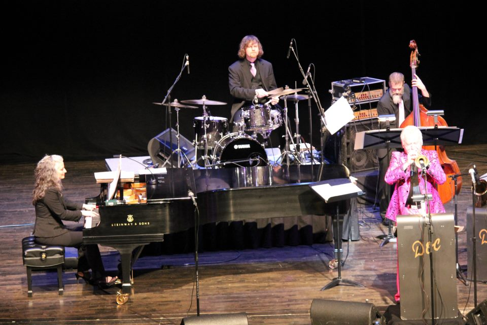 With Doc Severinsen at the Touhill Performing Arts Center, St. Louis, MO. Mary Louise (p), Stockton Helbing (d), Kevin Thomas (b), and Doc (tpt).