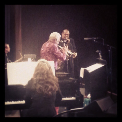 """Pianist Mary Louise Knutson with trumpeter Doc Severinsen and saxophonist Ernie Watts trading fours on """"Caravan."""""""