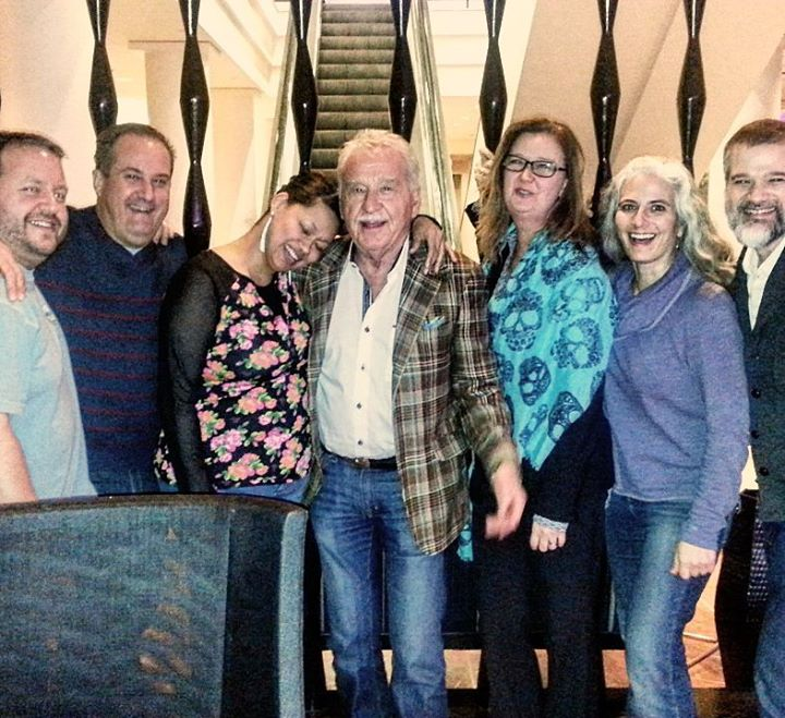 The band hangs out with Doc after a symphony show in Rochester, NY. Trumpeter Brad Shermock, vocalists Joseph Wolverton and Vanessa Thomas, trumpeter Doc Severinsen, tour manager Susan Steele, pianist Mary Louise Knutson, and bassist Kevin Thomas.