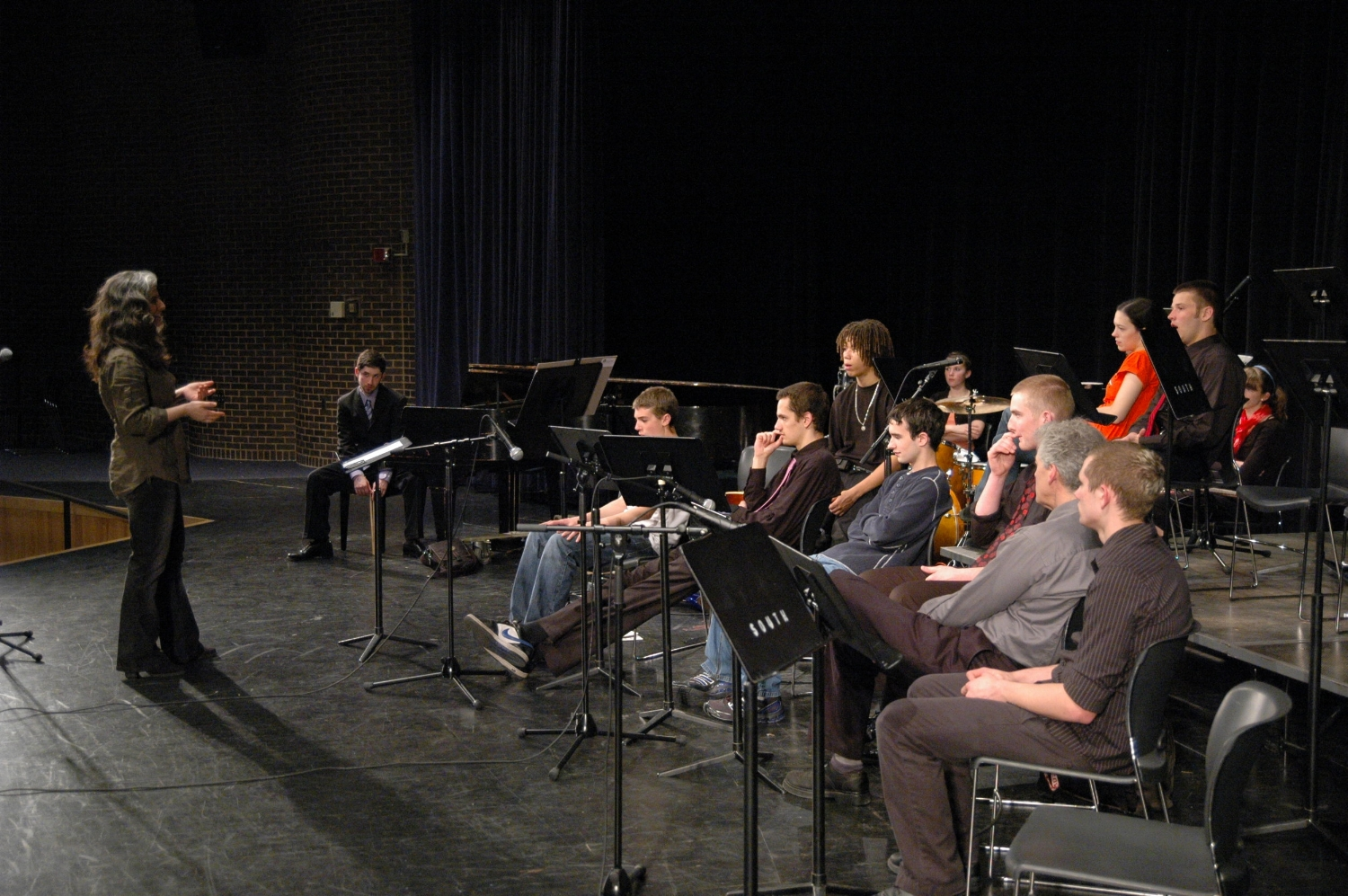 Pianist Mary Louise Knutson giving a masterclass to rhythm section players at the Winter Jazz Blast, a festival for middle and high school jazz bands in the Twin Cities and Upper Midwest, St. Paul, MN.