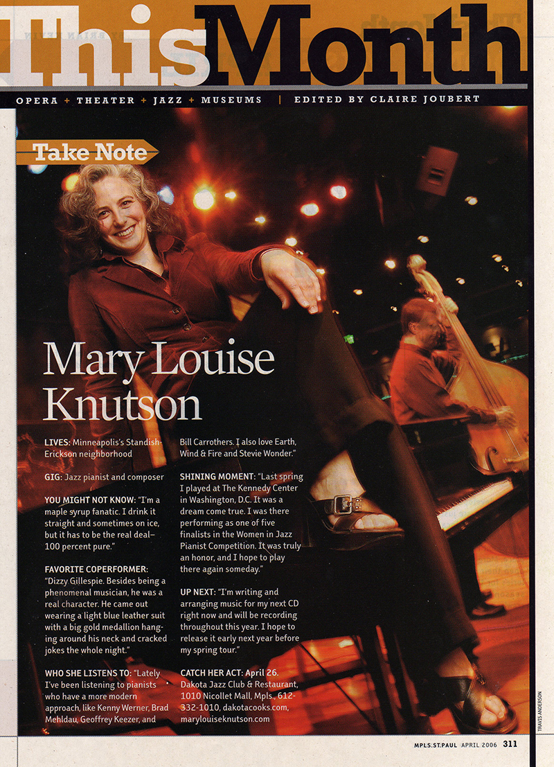 News — Mary Louise Knutson — Jazz Pianist and Composer