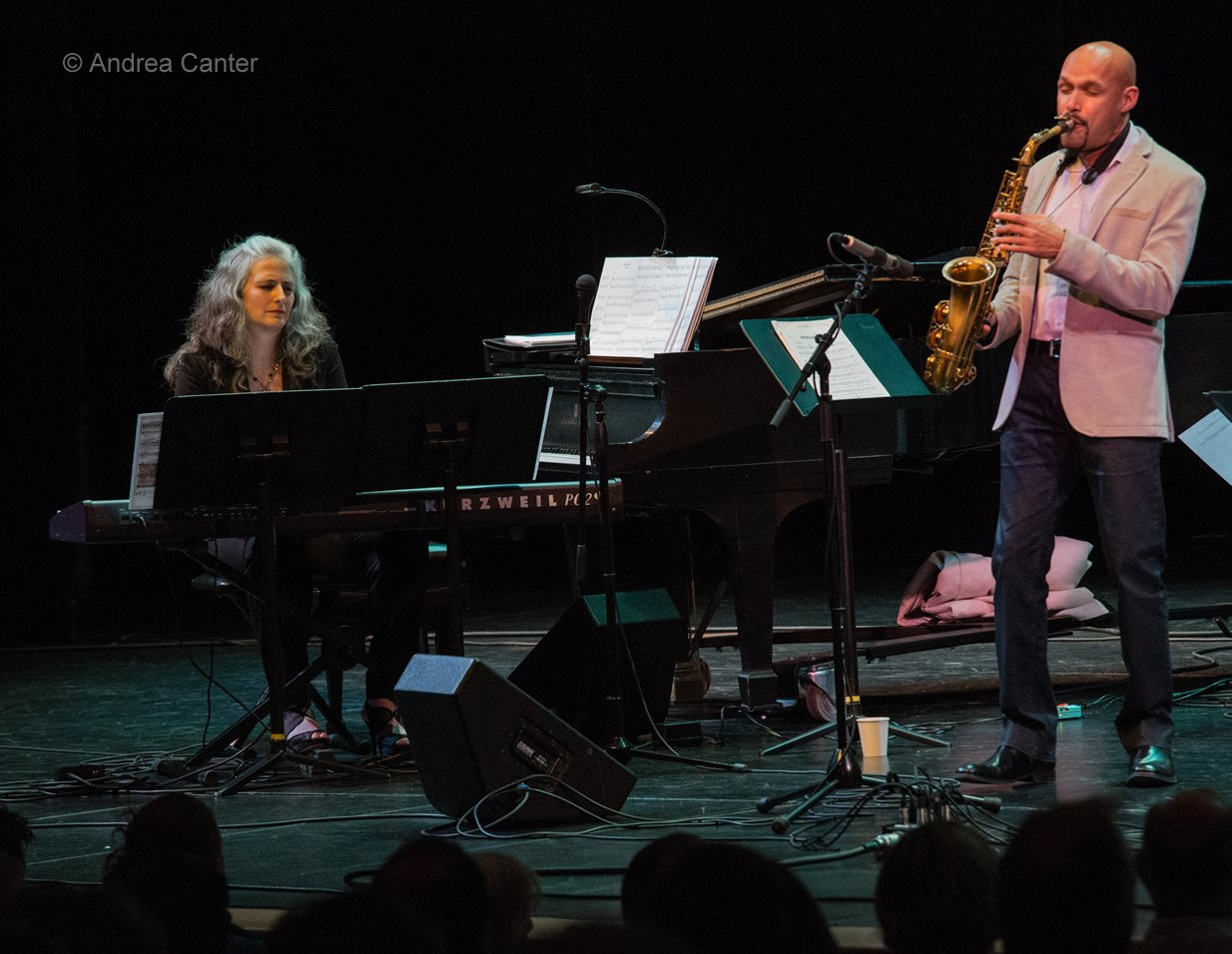 Pianist Mary Louise Knutson with saxophonist Miguel Zenon, Minneapolis, MN.