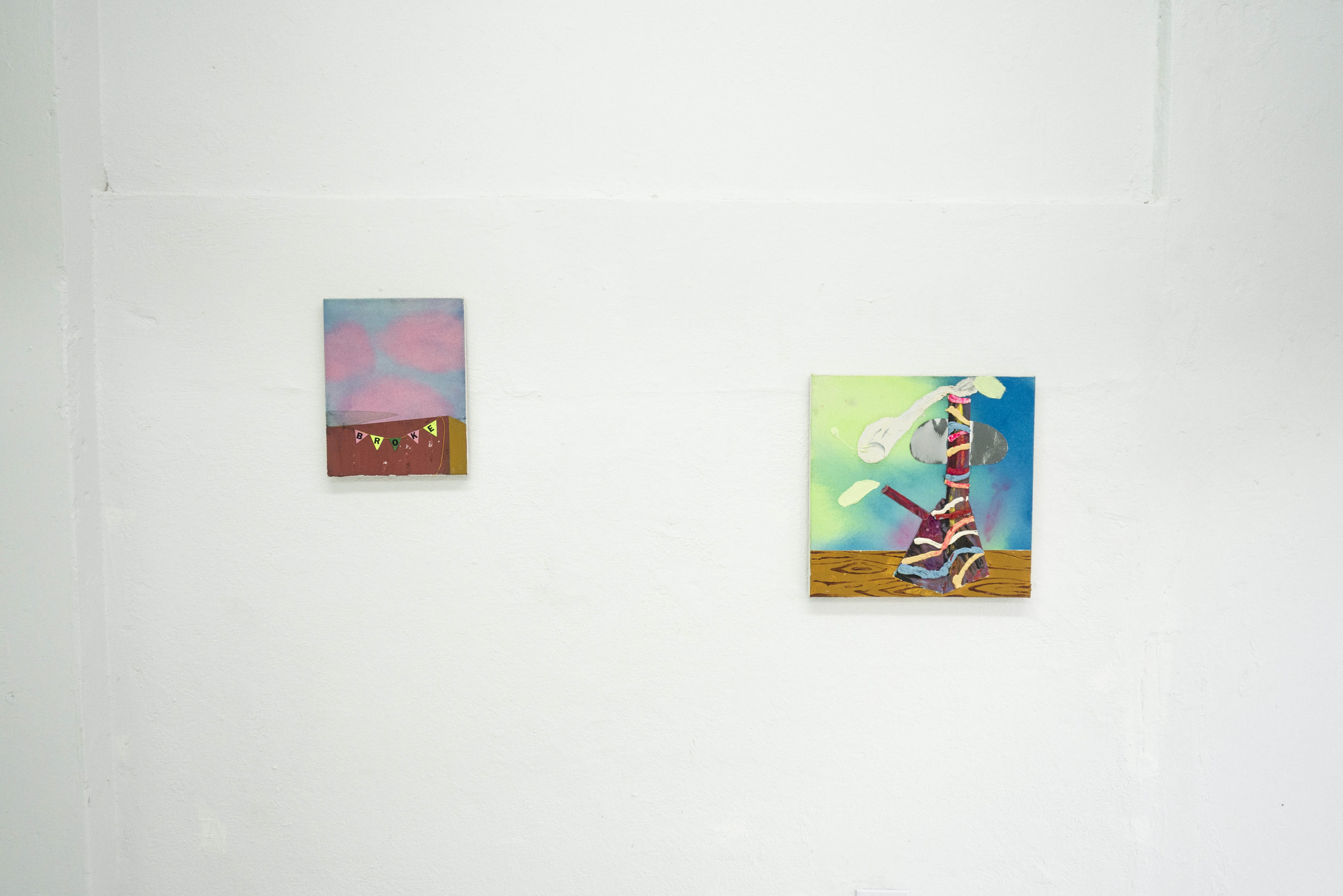 "Omar Velázquez / Untitled (Broke) / Medio Mixto / 11"" x 14""  Omar Velázquez / Untitled (Bonga) / Medio Mixto / 20"" x 20"""