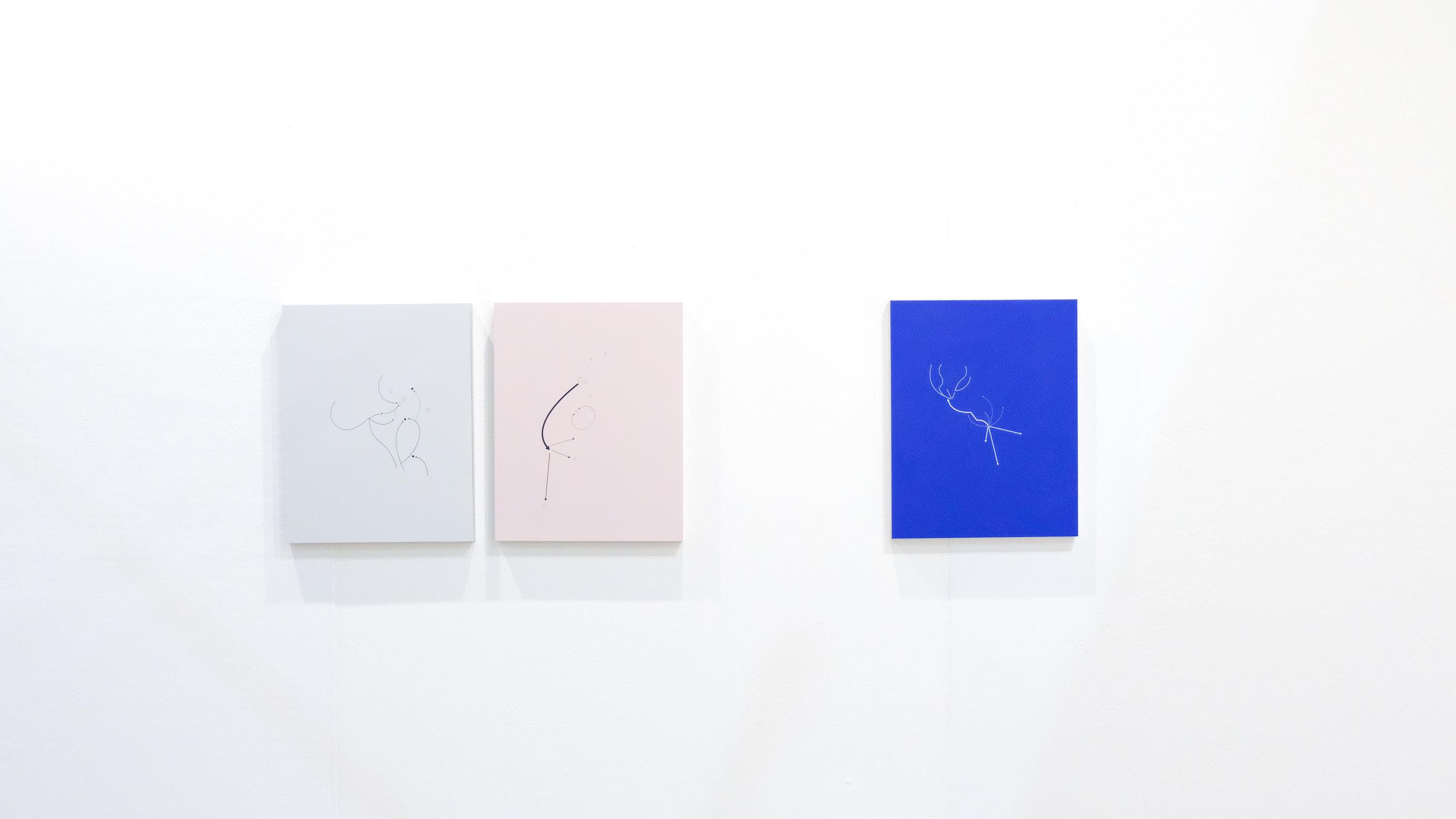 Maya Saravaia / CO - MX, H y MQ, 2018 / Serigrafía y pintura spray sobre aluminio / 38 x 30 cm c/u