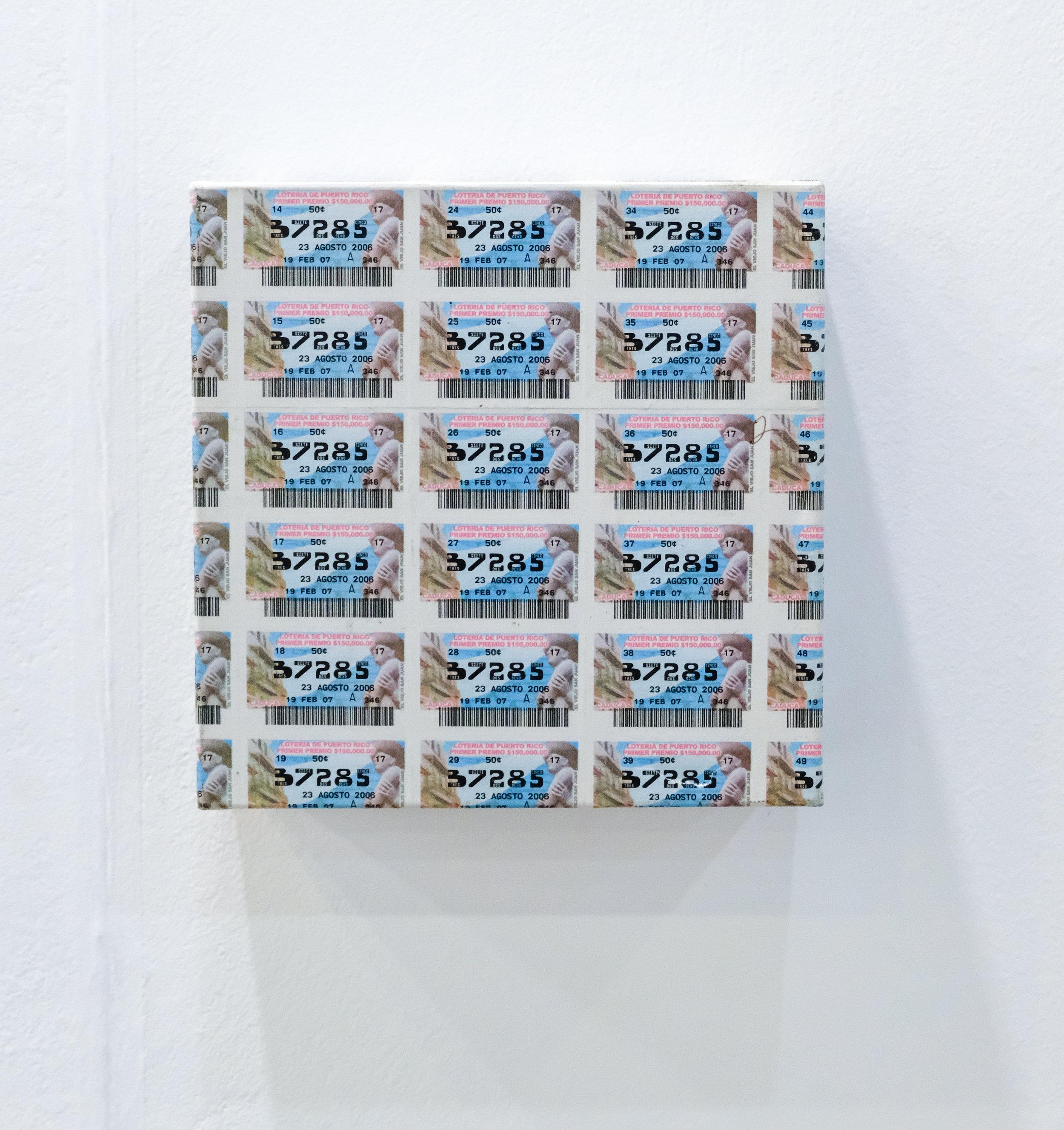 Guillermo Rodríguez / Palimpesto, 2017 / Billetes de loteria de Puerto Rico sobre canvas