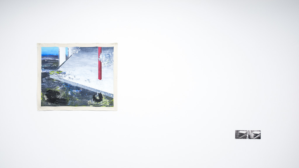 "Paradox of The New Landscape II, 2018 / óleo sobre lienzo / 39"" x 46"" in.  Referencia 001 & 002, 2018 / impresión laser / 5"" x 7""in."