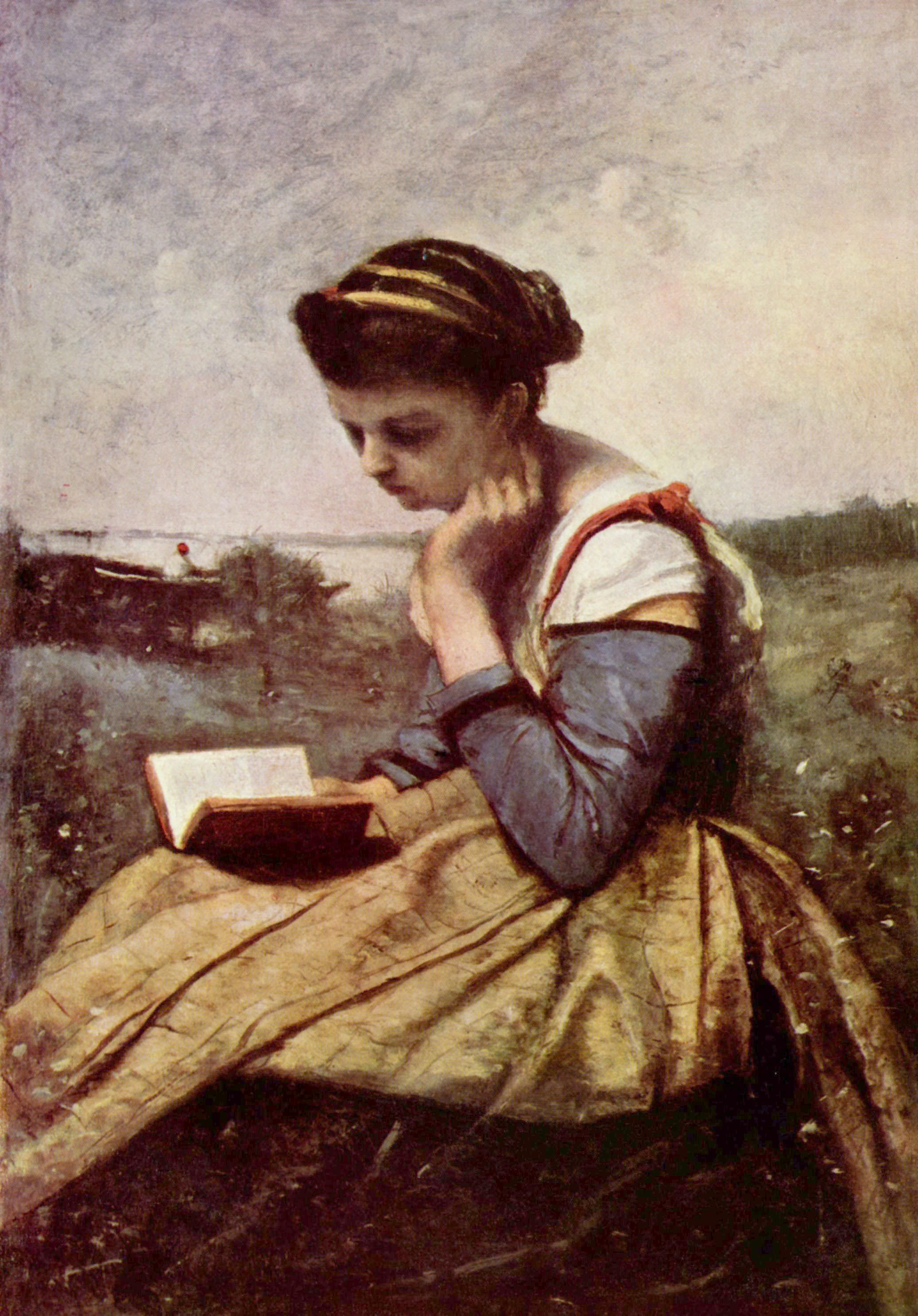 woman reading in a landscape by jean baptiste camille corot.jpg