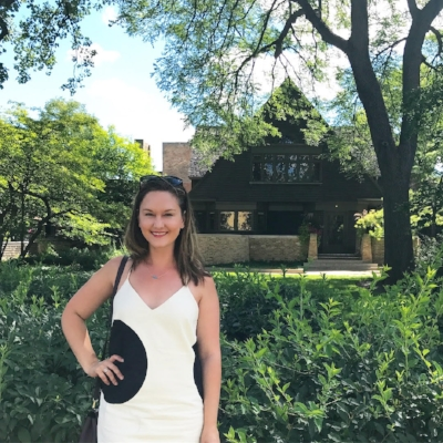 Ashley Hasty at the Frank Lloyd Wright home in Oak Park, IL