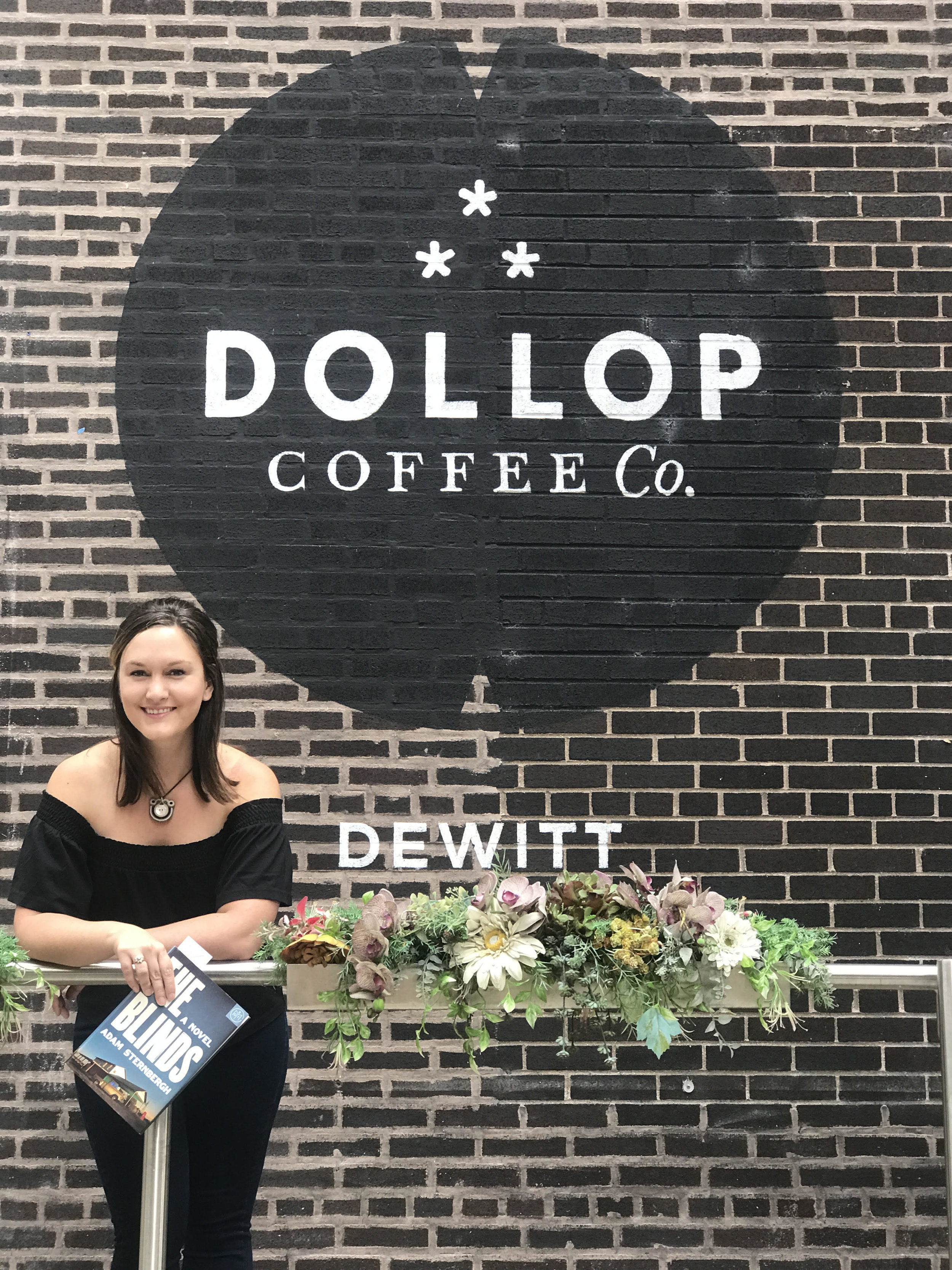 Reading The Blinds by Adam Sternbergh at Dollop Coffee in Chicago, IL