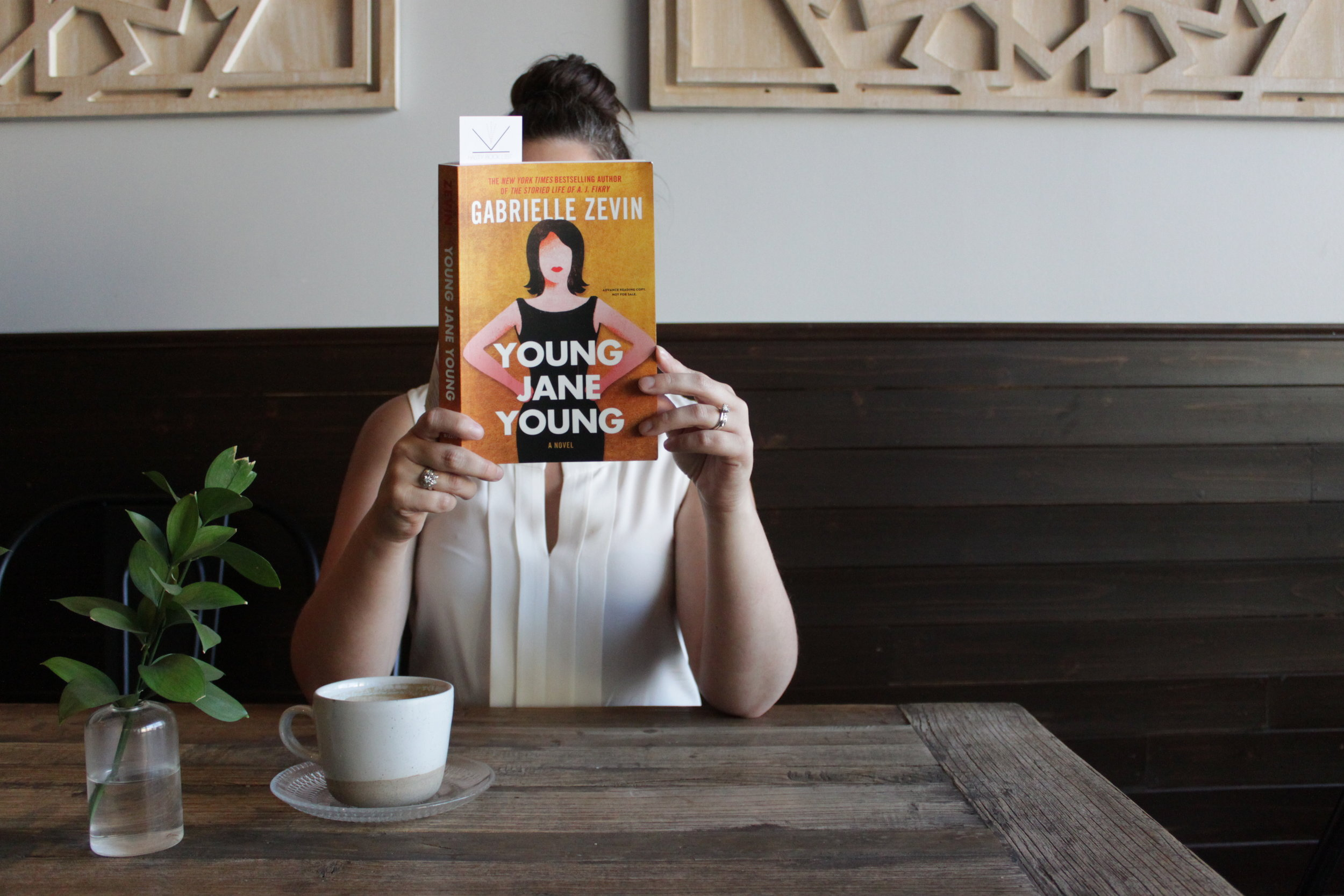 Reading Young Jane Young by Gabrielle Zevin at Ormo Cafe