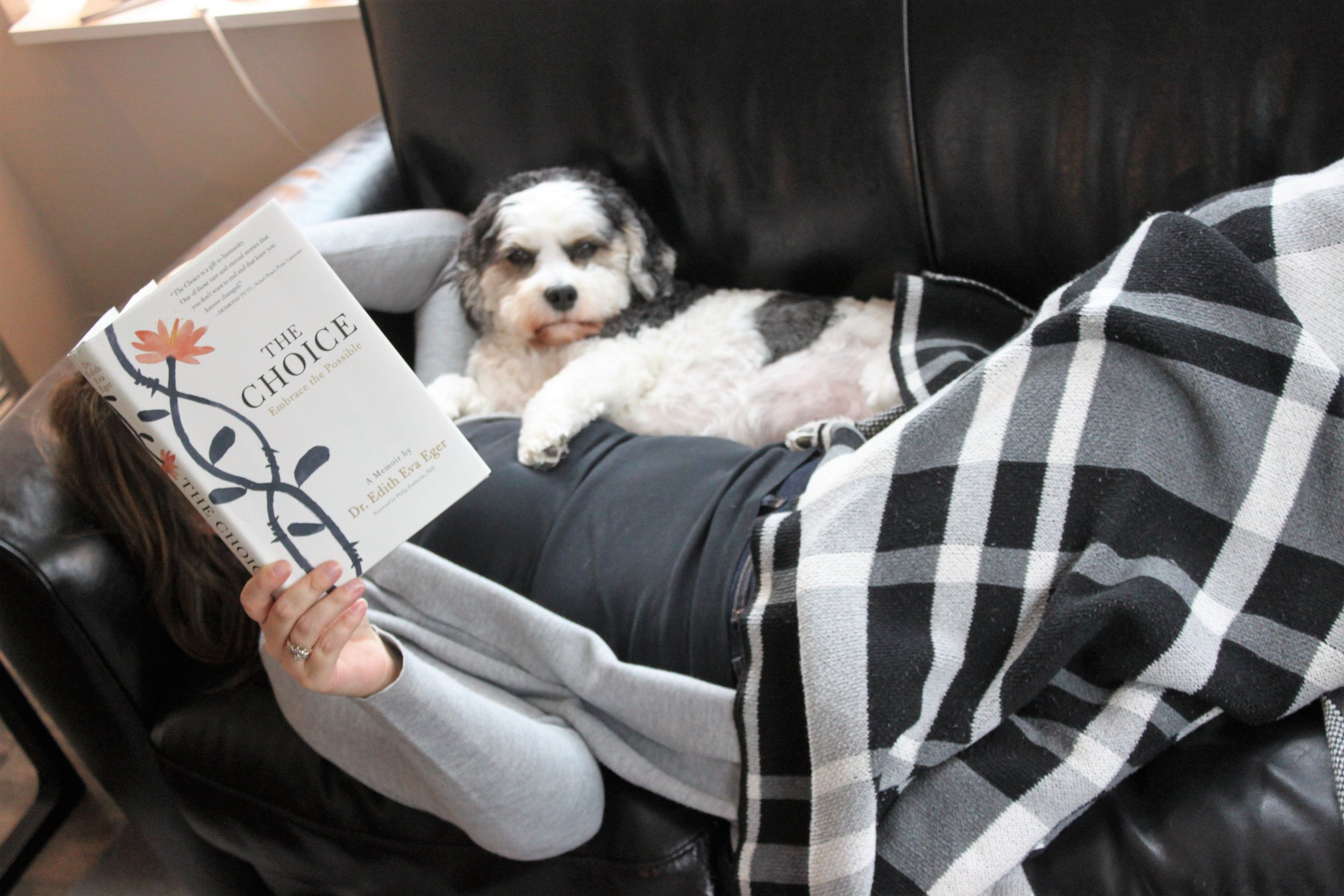 Reading The Choice by Dr. Edith Eva Eger at home in Chicago, IL