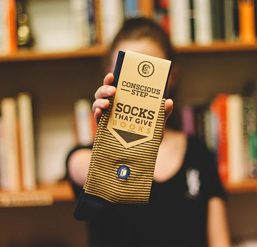 5 Gifts to Give Book-Lovers (besides books!) 5) Socks that give books from Conscious Step