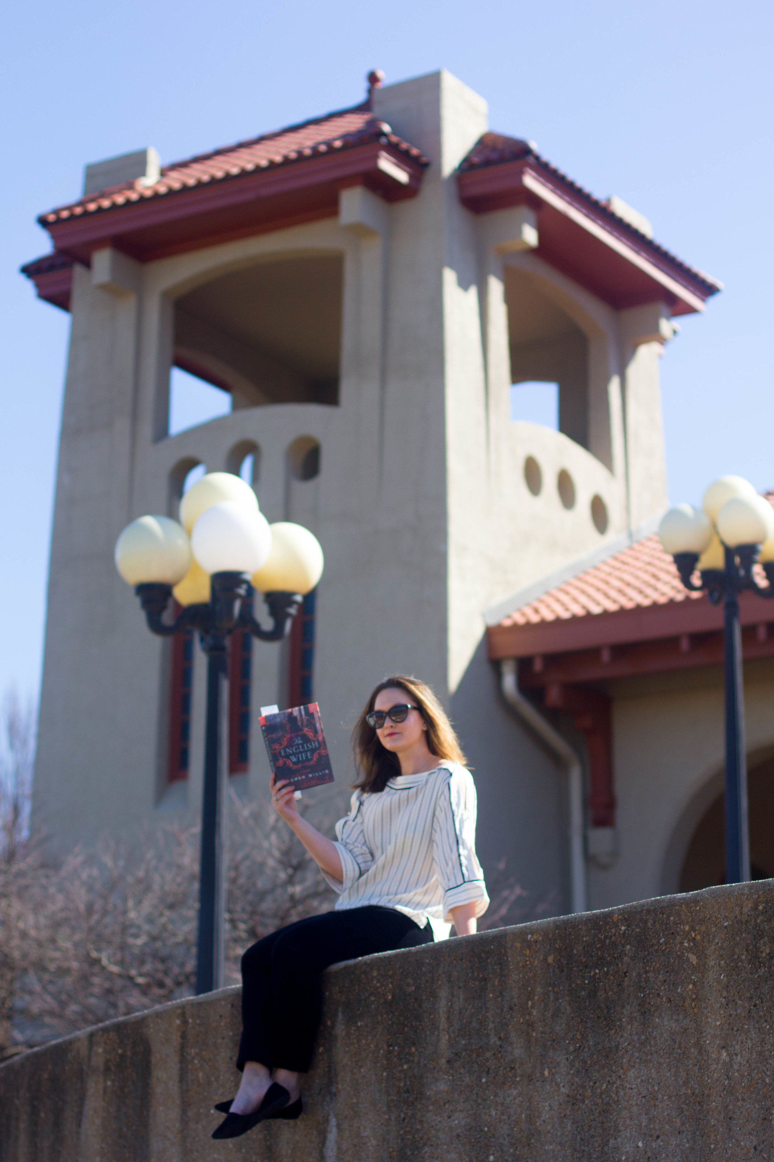 Reading The English Wife by Lauren Willig at the World's Fair Pavilion in St. Louis