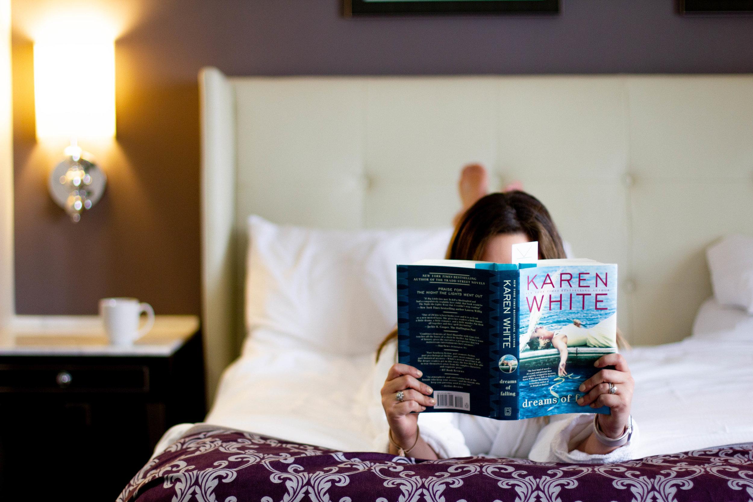 Reading Dreams of Falling by Karen White at the Ambassador Hotel in Kansas City, MO