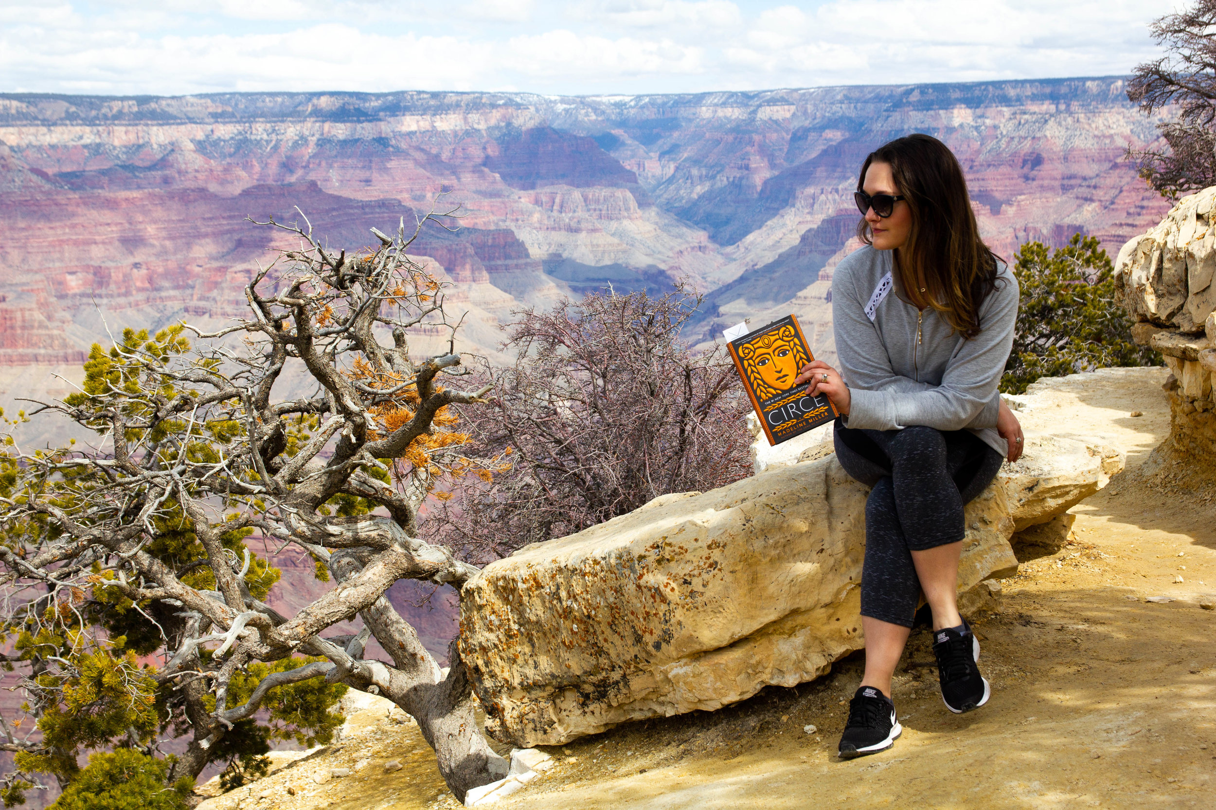 Reading Circe by Madeline Miller at the Grand Canyon