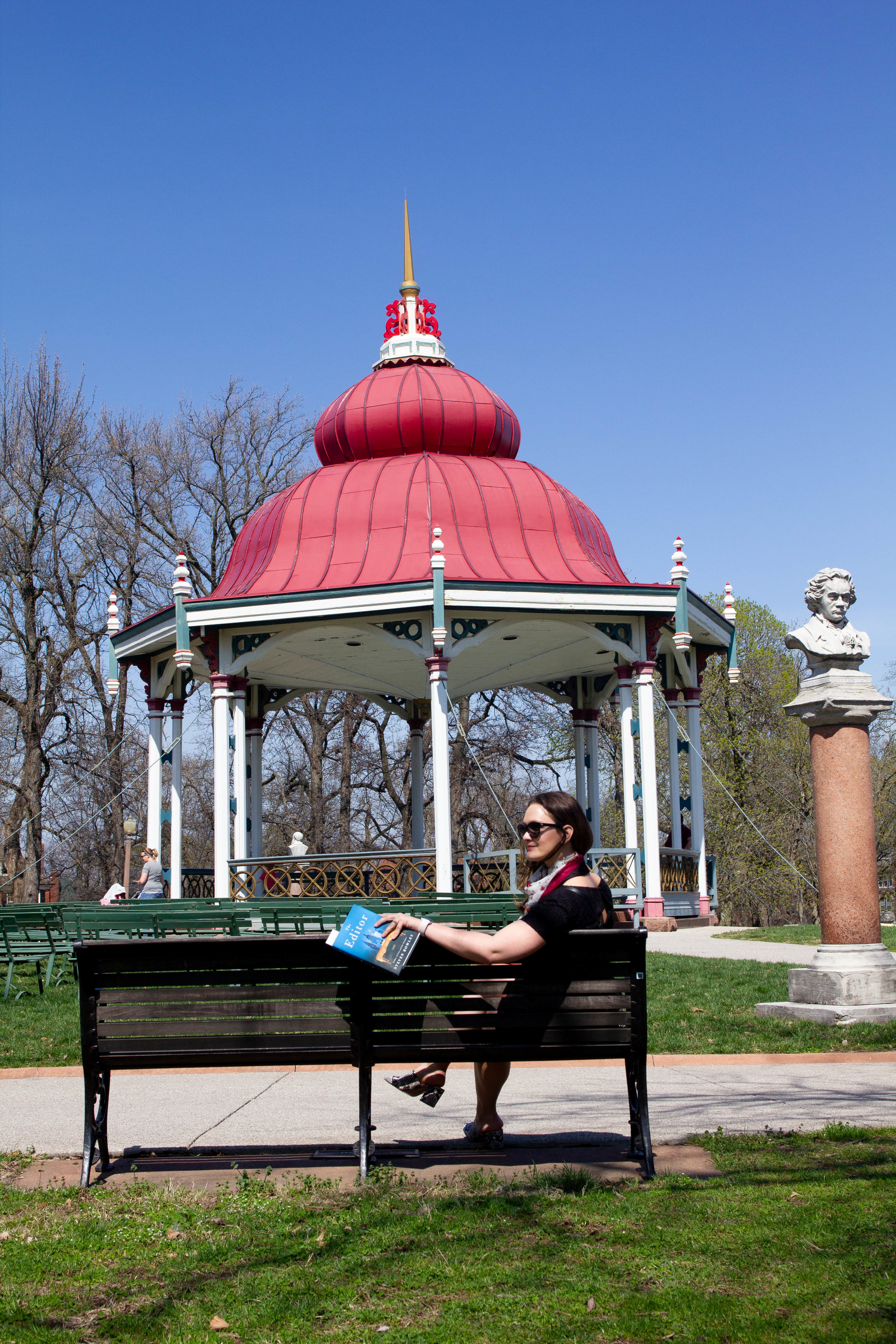 Reading The Editor by Steven Rowley at Tower Grove Park in St. Louis, MO