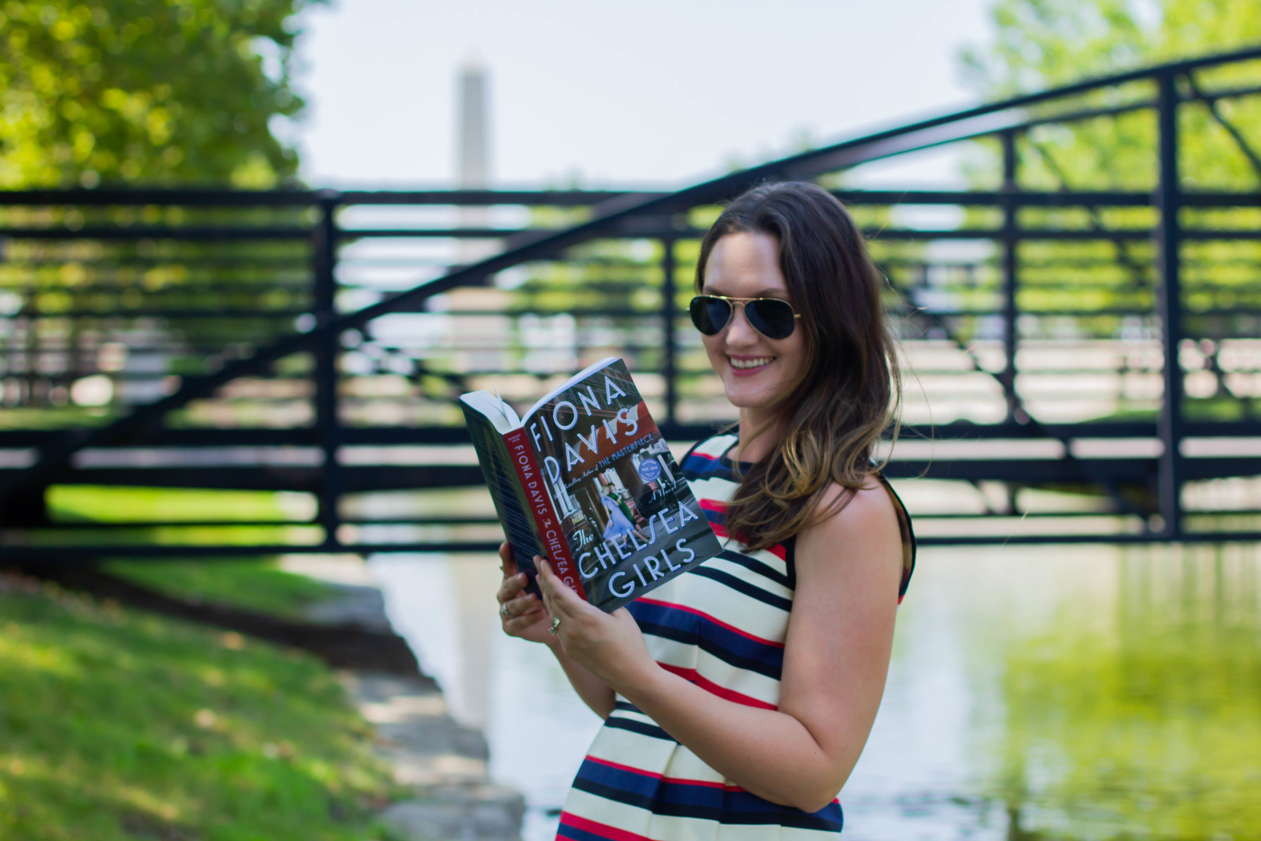 Reading The Chelsea Girls by Fiona Davis in New Town at St. Charles, MO