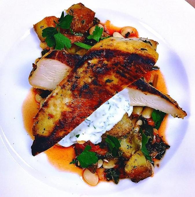 Souvlaki chicken / stewed lima beans & spinach / seared lemon-rosemary potatoes / tzatziki sauce