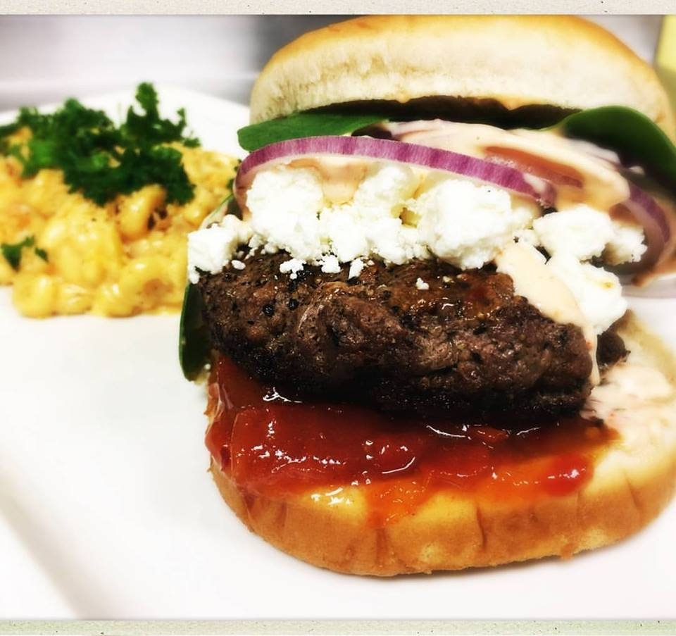lamb burger / feta / tomato jam / roasted red pepper aioli / pimiento mac n cheese