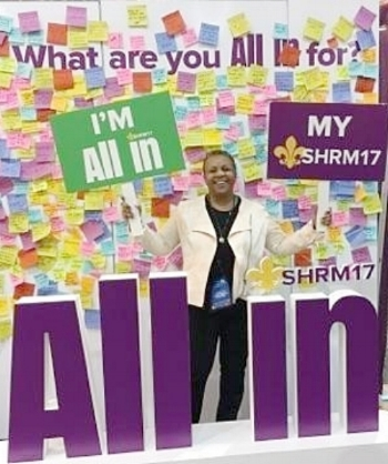 "Gail Ellison at the ""All In"" board"