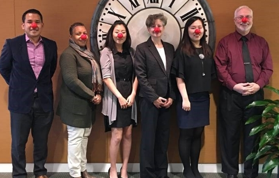 A few of Warner's Red Nose team