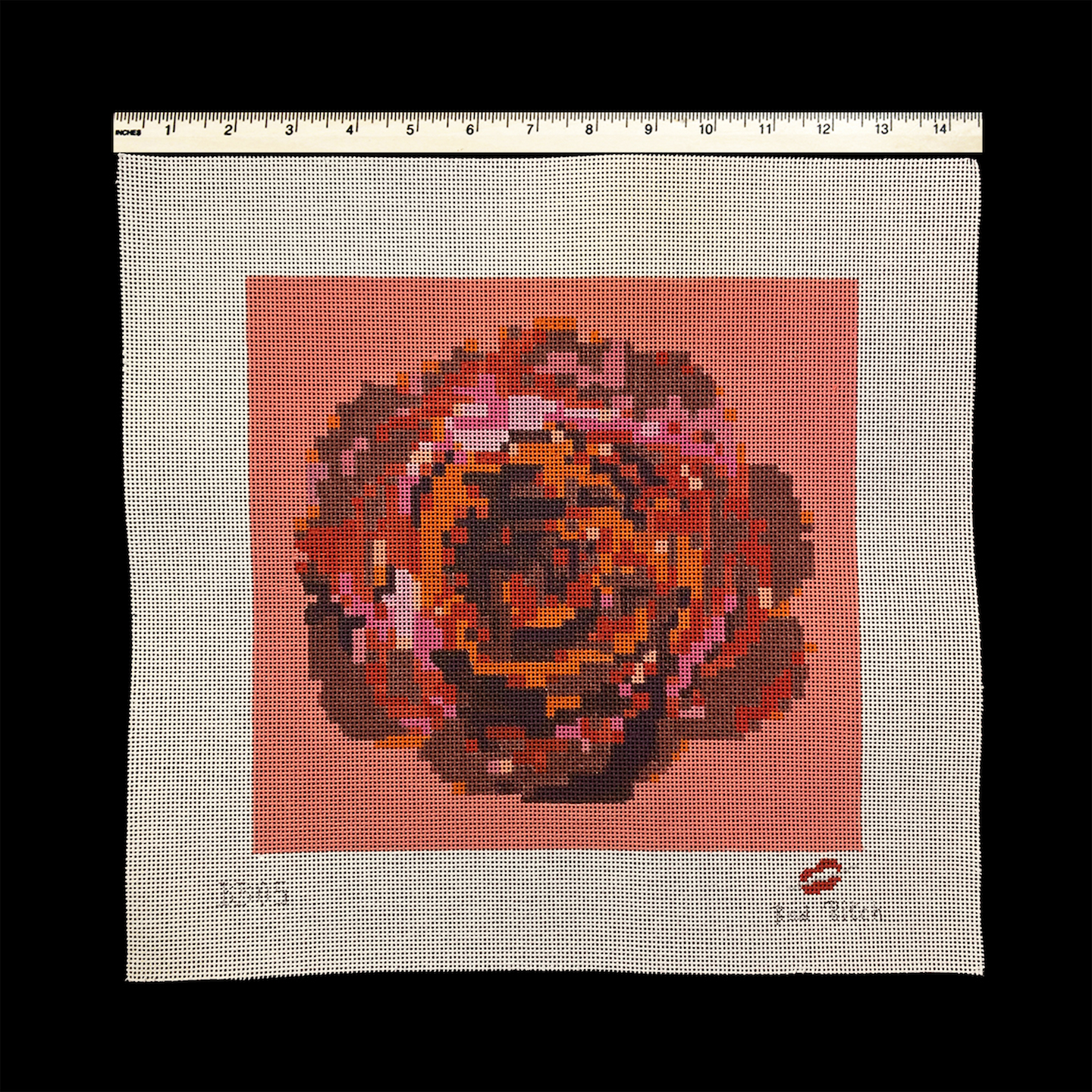 Pixelated Rose with Living Coral Background (BB05)