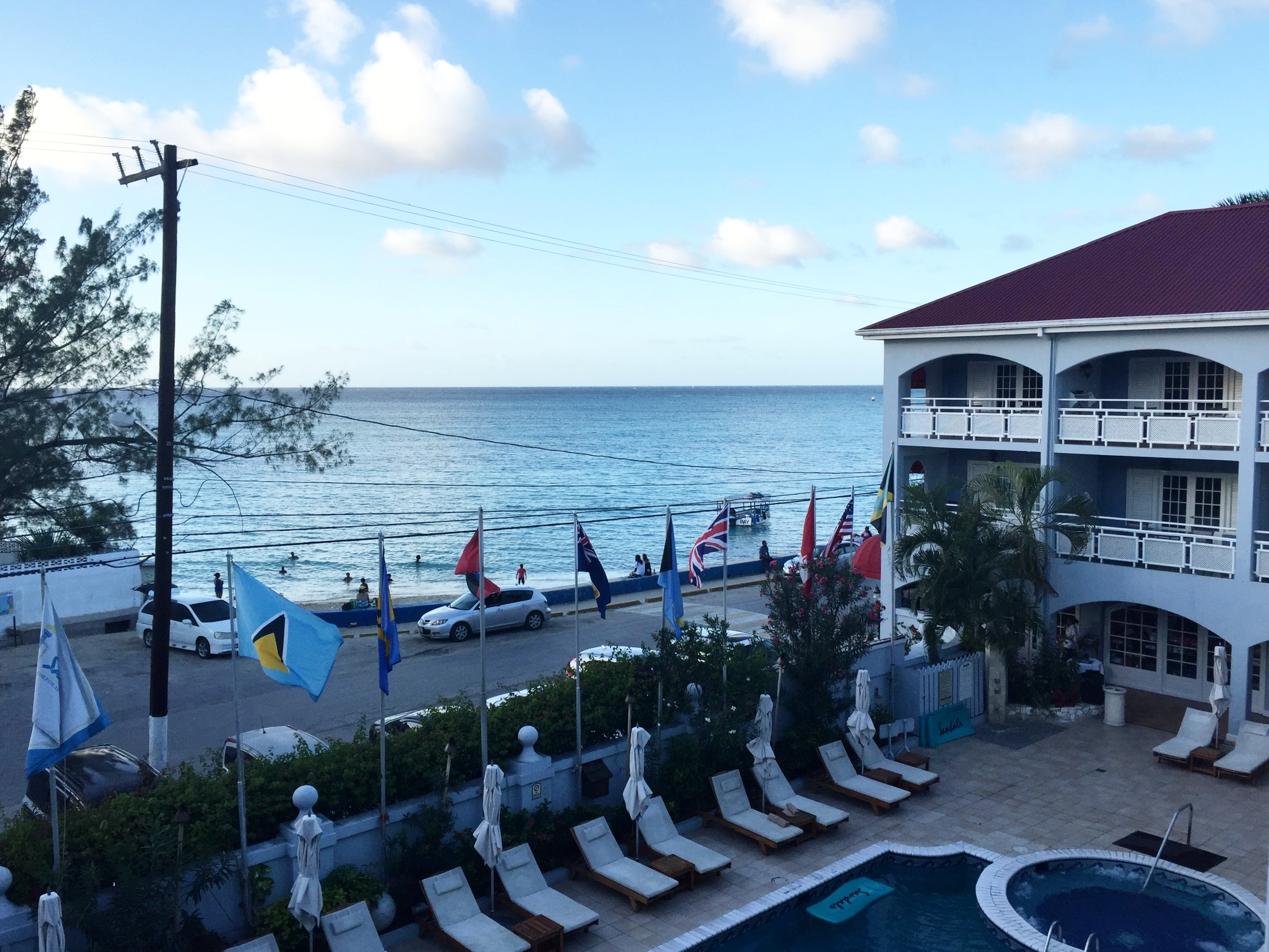 The view of the public beach from our room at Sandals Carlyle.