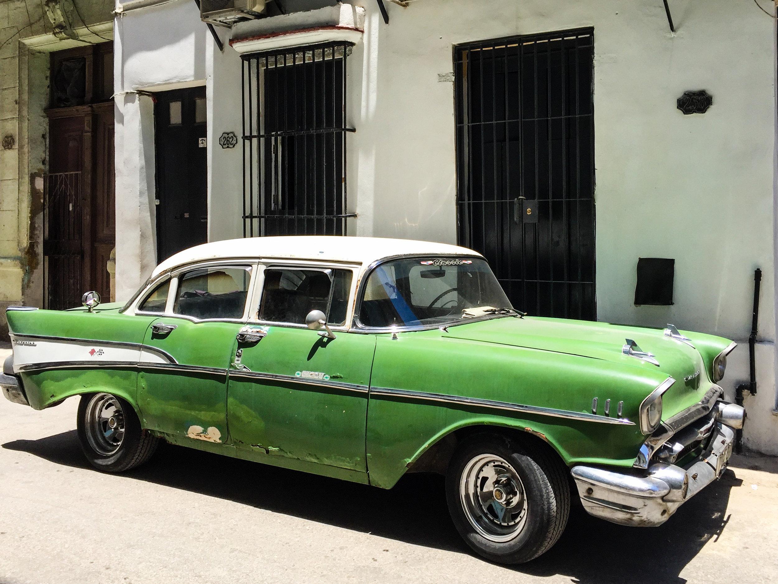 An old green car in Havana