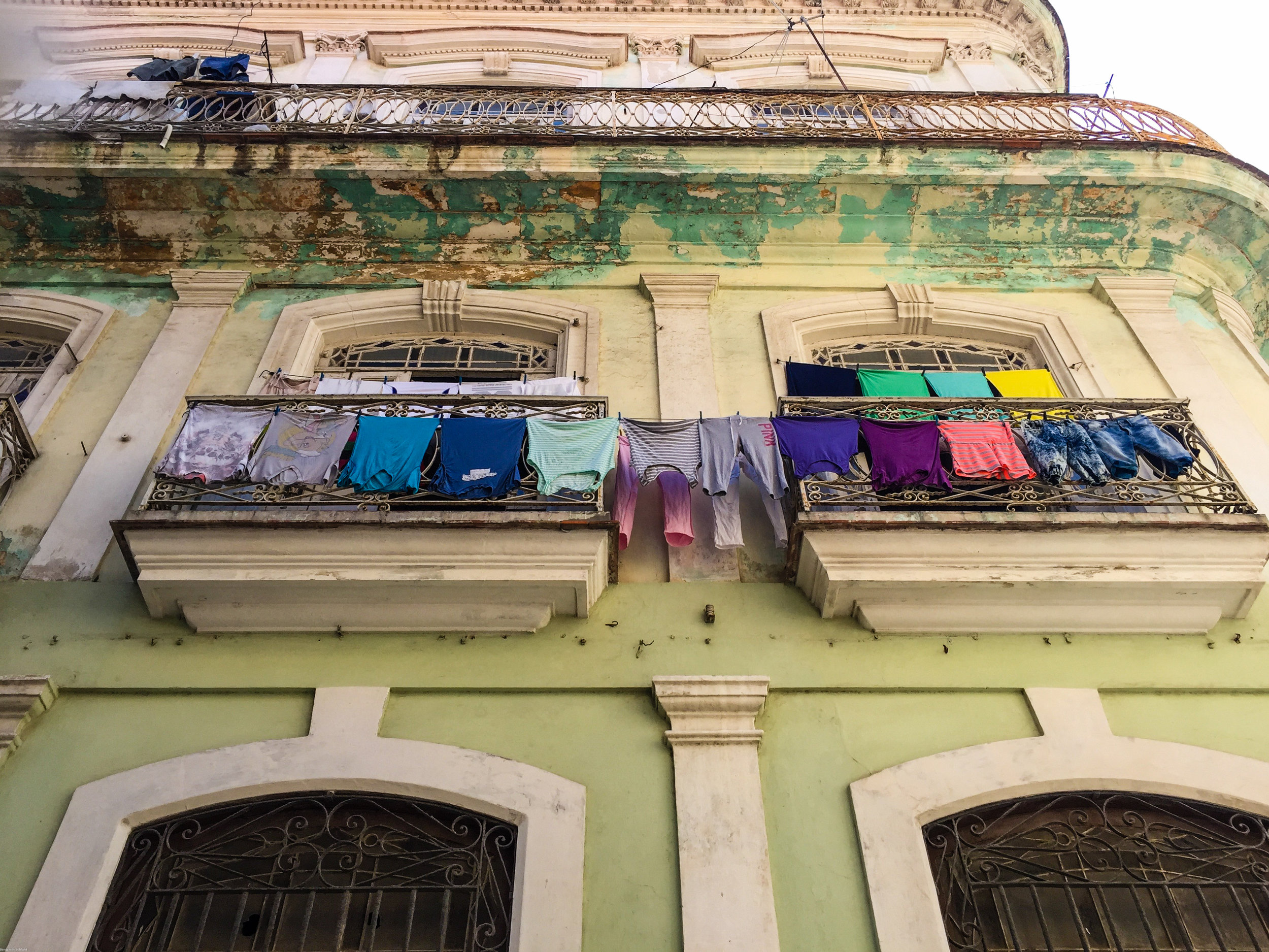 Clothes hanging out to dry (a very common sight)