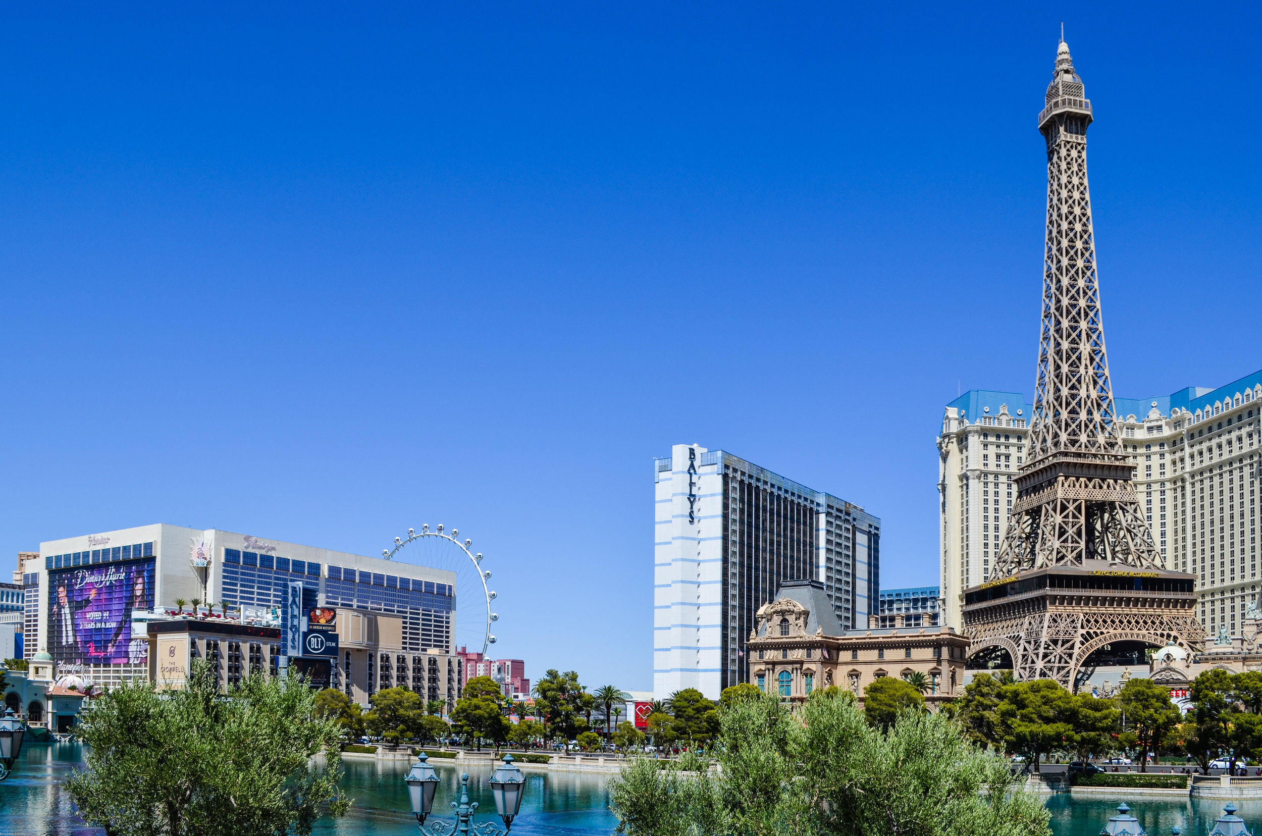 The Eiffel Tower at Paris Las Vegas (and High Roller at the LINQ in the background)