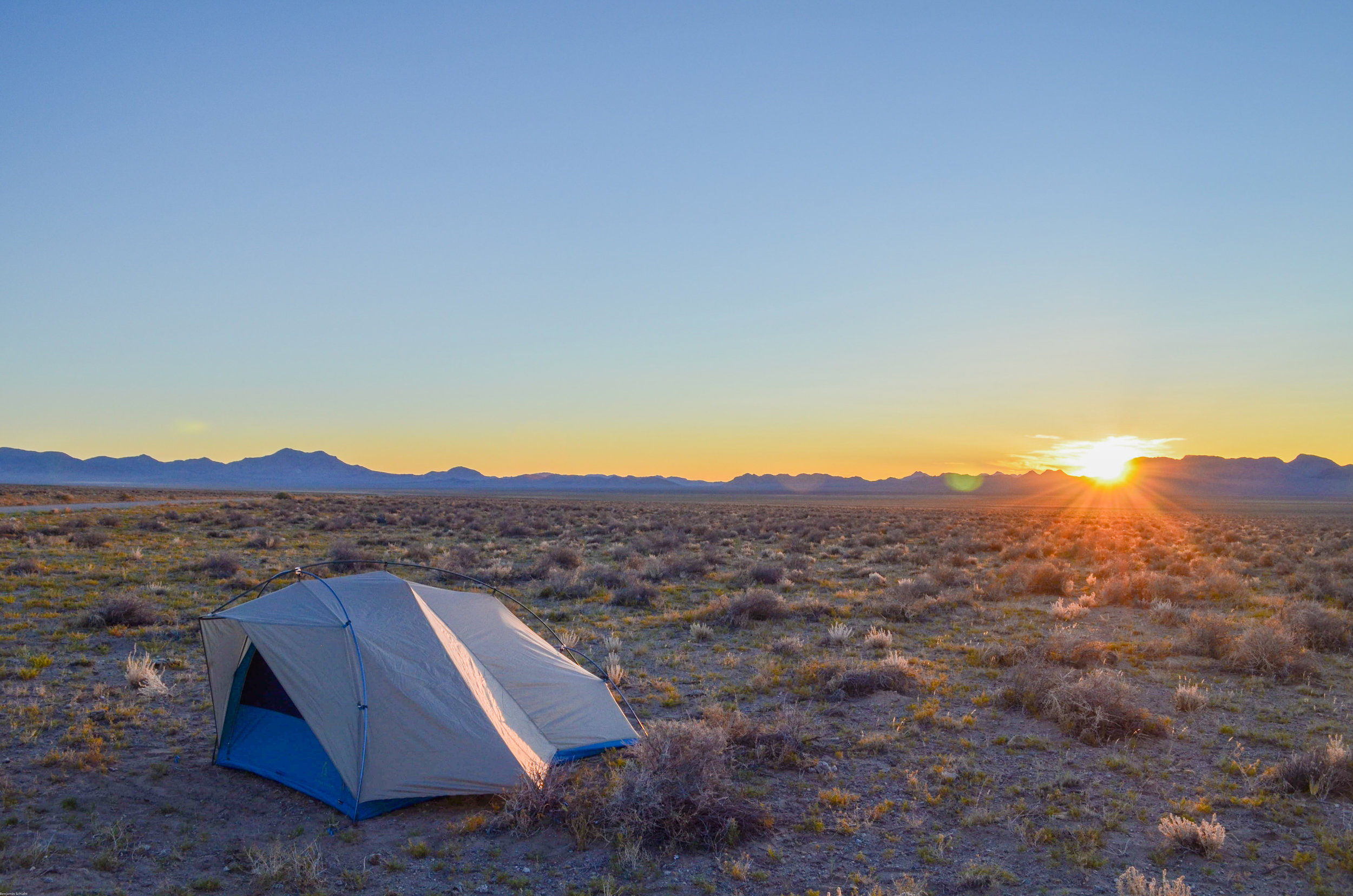 Our incredible REI tent and the mind-blowing sunset we saw