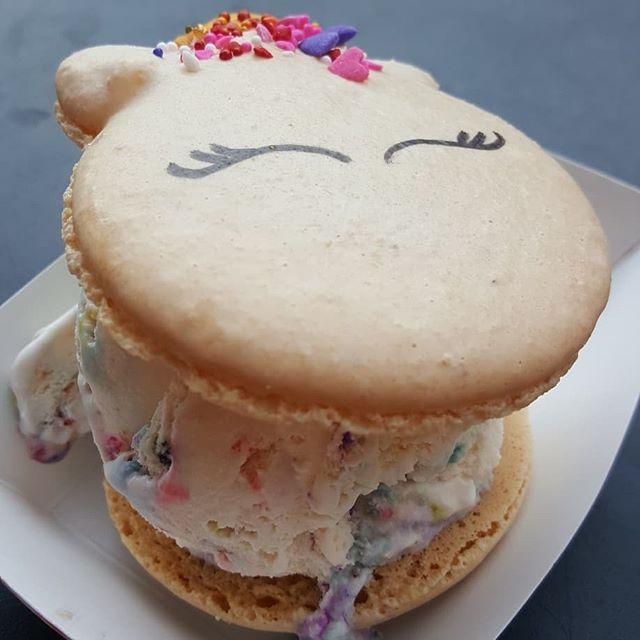 """Unicorn Poop"" Macaroon Fruity Pebbles Ice cream sandwich. Definitely the prettiest macaroon I've ever had 😄"
