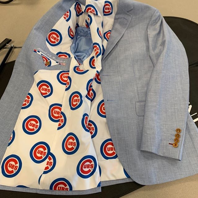 Custom cubs lining! Have a specific idea in mind for the inside of your jacket? We can do anything! #customlining #customjacket #customclothing #customchicago #customcubs #gocubs -#chicagofashion #chicagomenswear