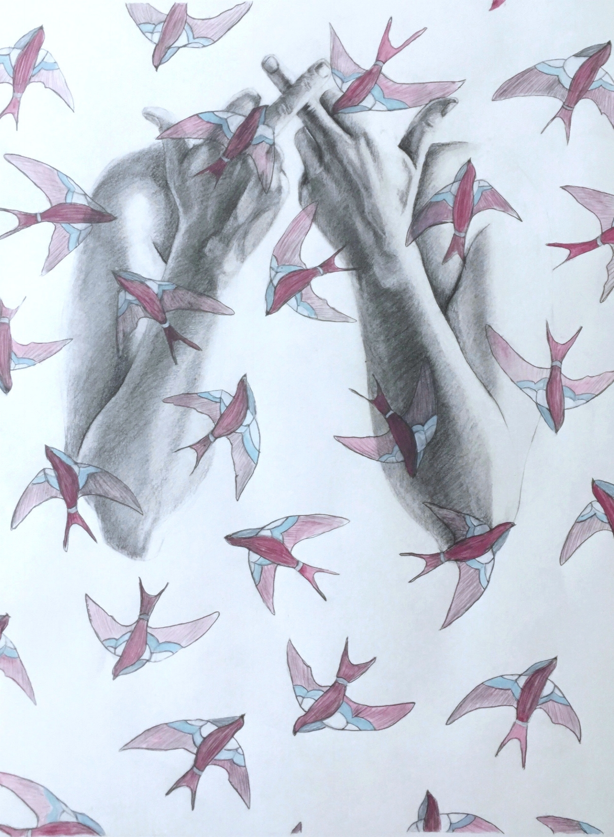 All The Pretty Birds Are Boy Birds Acrylic, Graphite on paper, 2017