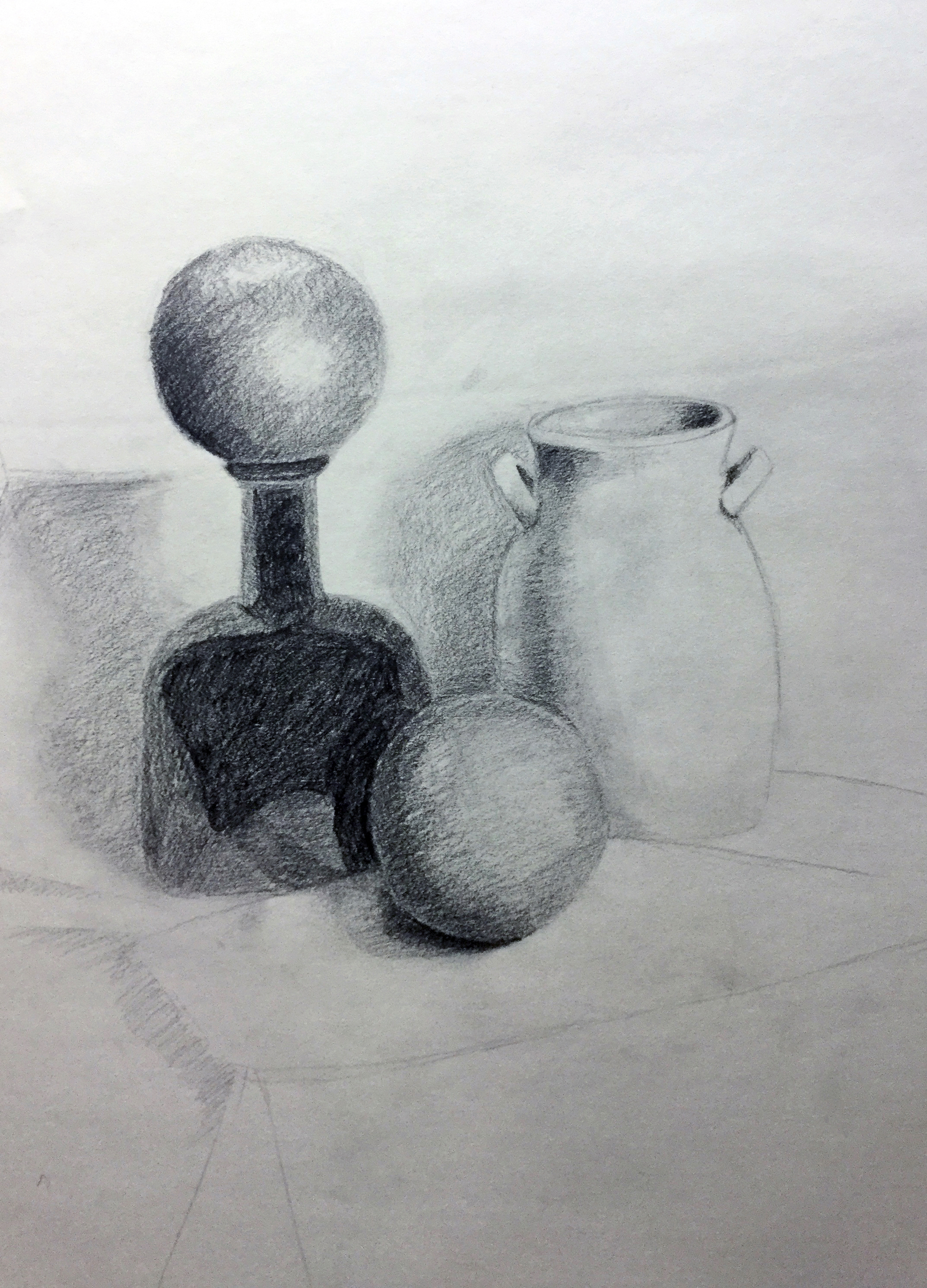 COMMUNITY EDUCATION TEEN PORTFOLIO DEVELOPMENT- Munson Williams and Proctor Arts Institute.    Value Study   Two hour in class still life on how value is used to create a sense of three dimensional form on a two dimensional picture plane.  Graphite on Paper