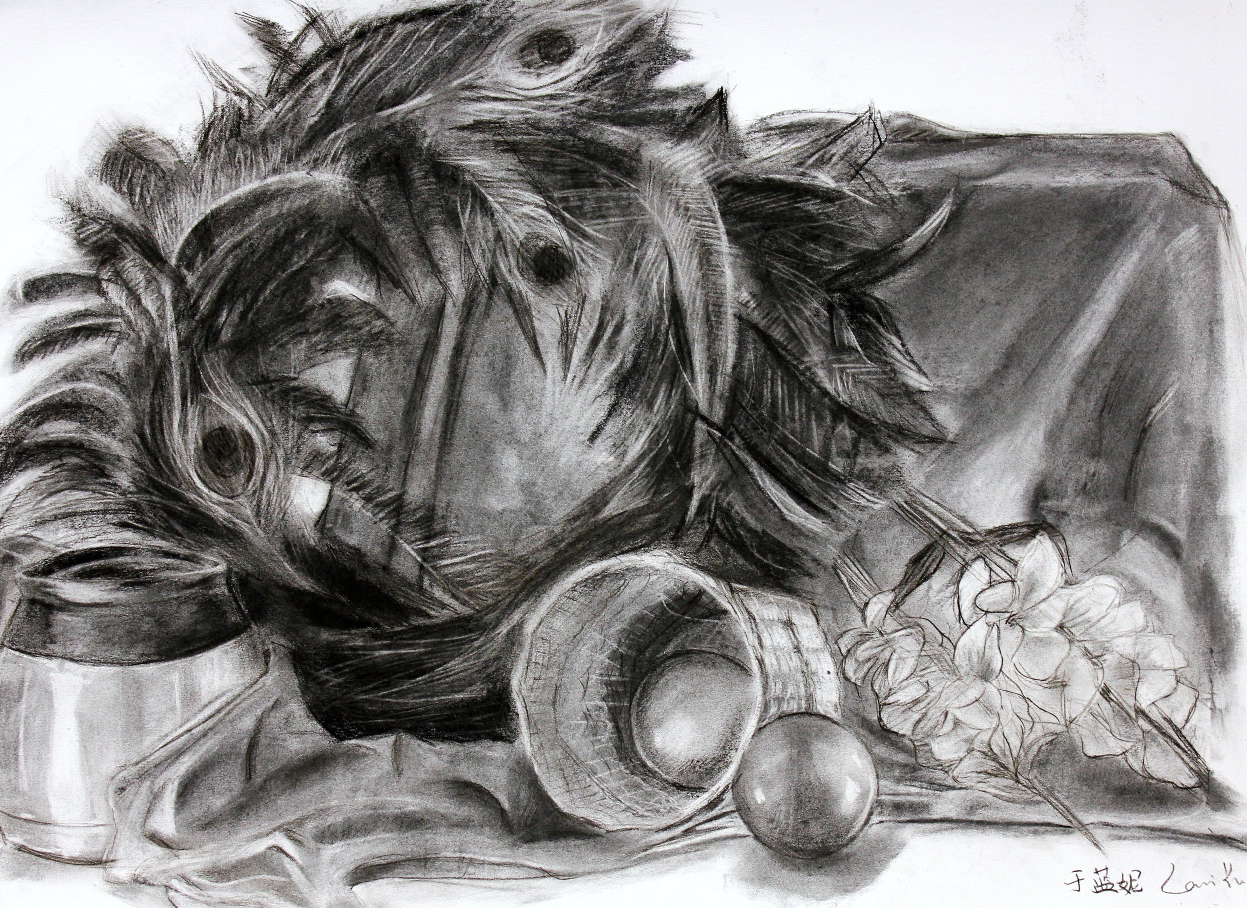 PAINTING AND DRAWING FOR NON MAJORS- Syracuse University    Midterm   Eight hour still life drawing.  Charcoal on Paper