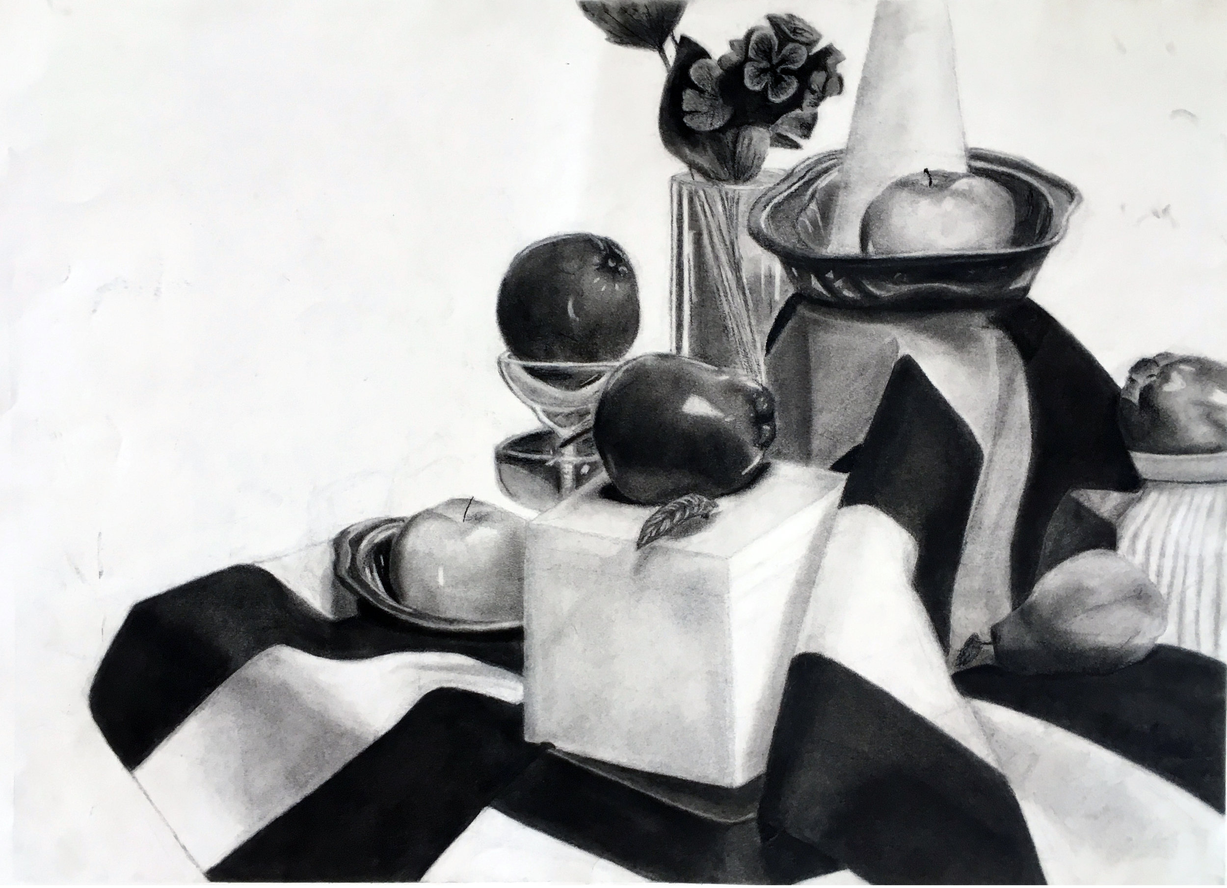 GENERAL DRAWING FOR NON MAJORS- Utica College    Midterm   Eight hour still life drawing.  Charcoal on Paper
