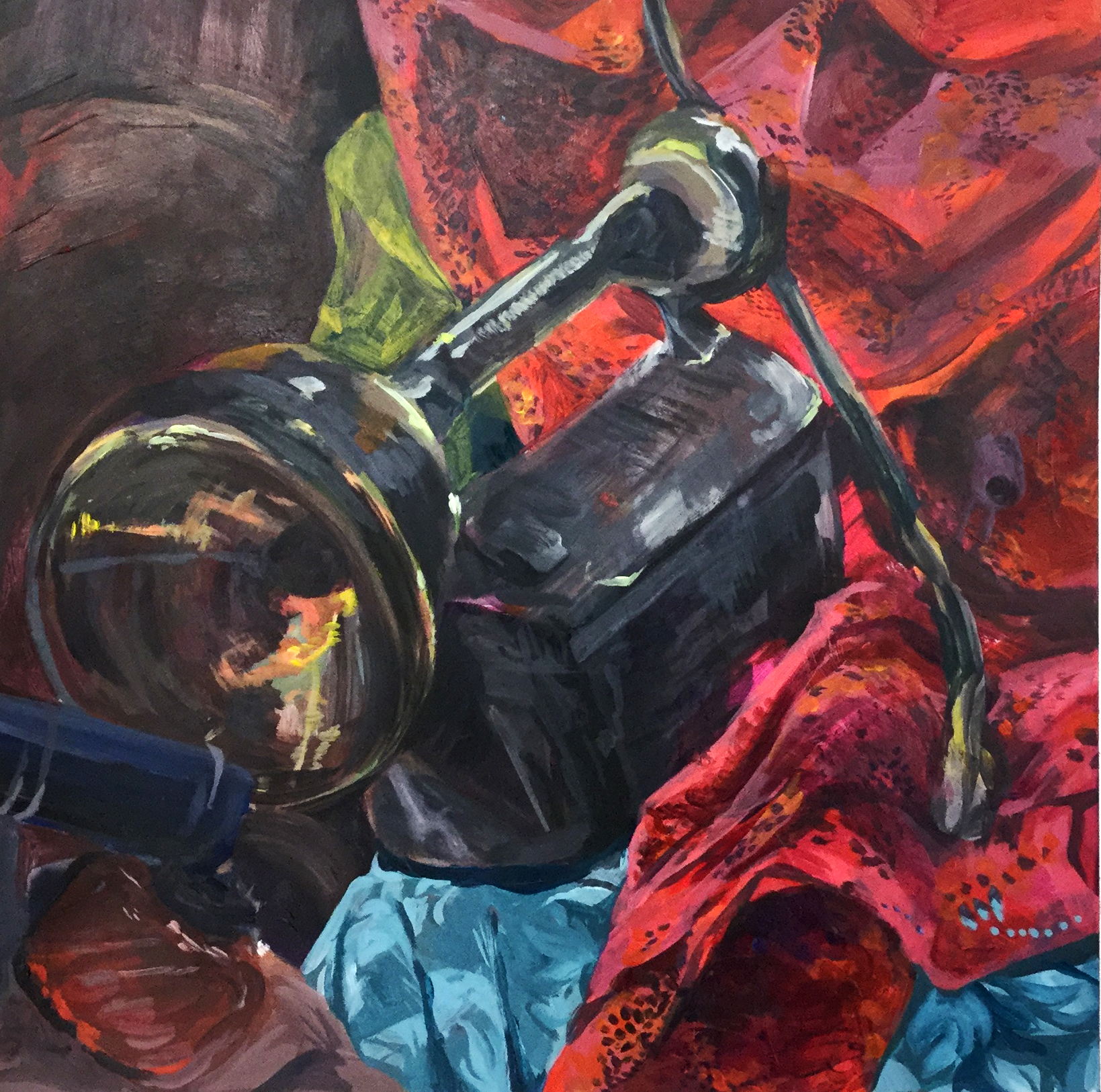 Realism Study: Still Life with Exaggerated Brush   Students paint a still life completed in full color. Students are asked to observe objects and their color relationships and values. Contrary to the previous assignment students are asked to loosen or exaggerate brush stroke.