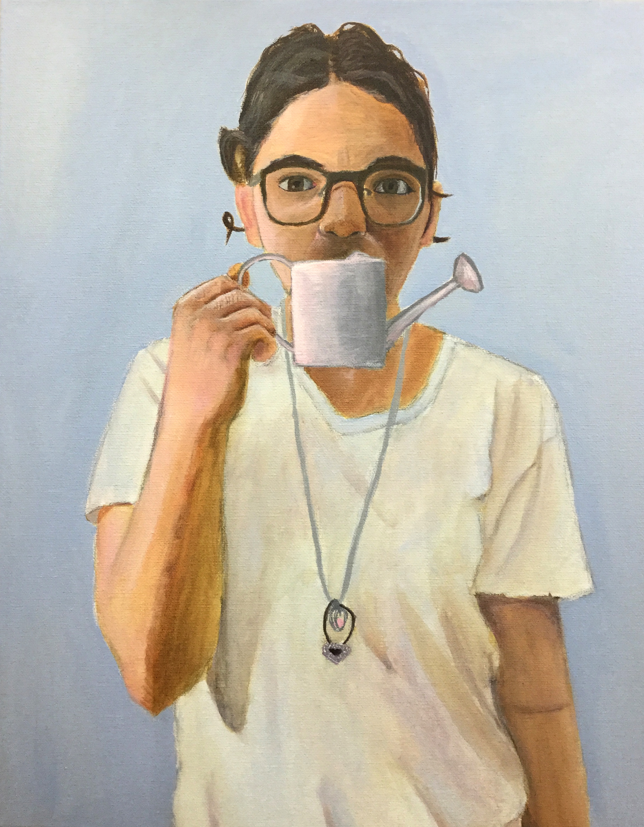 PAINTING SUMMER INTENSIVE -Pratt Munson Williams and Proctor Art Institute    Project 2   Students are asked to paint a self portrait holding an object. Students can use object to compare size and proportions to facial structures and/or anatomy.  Acrylic on Canvas