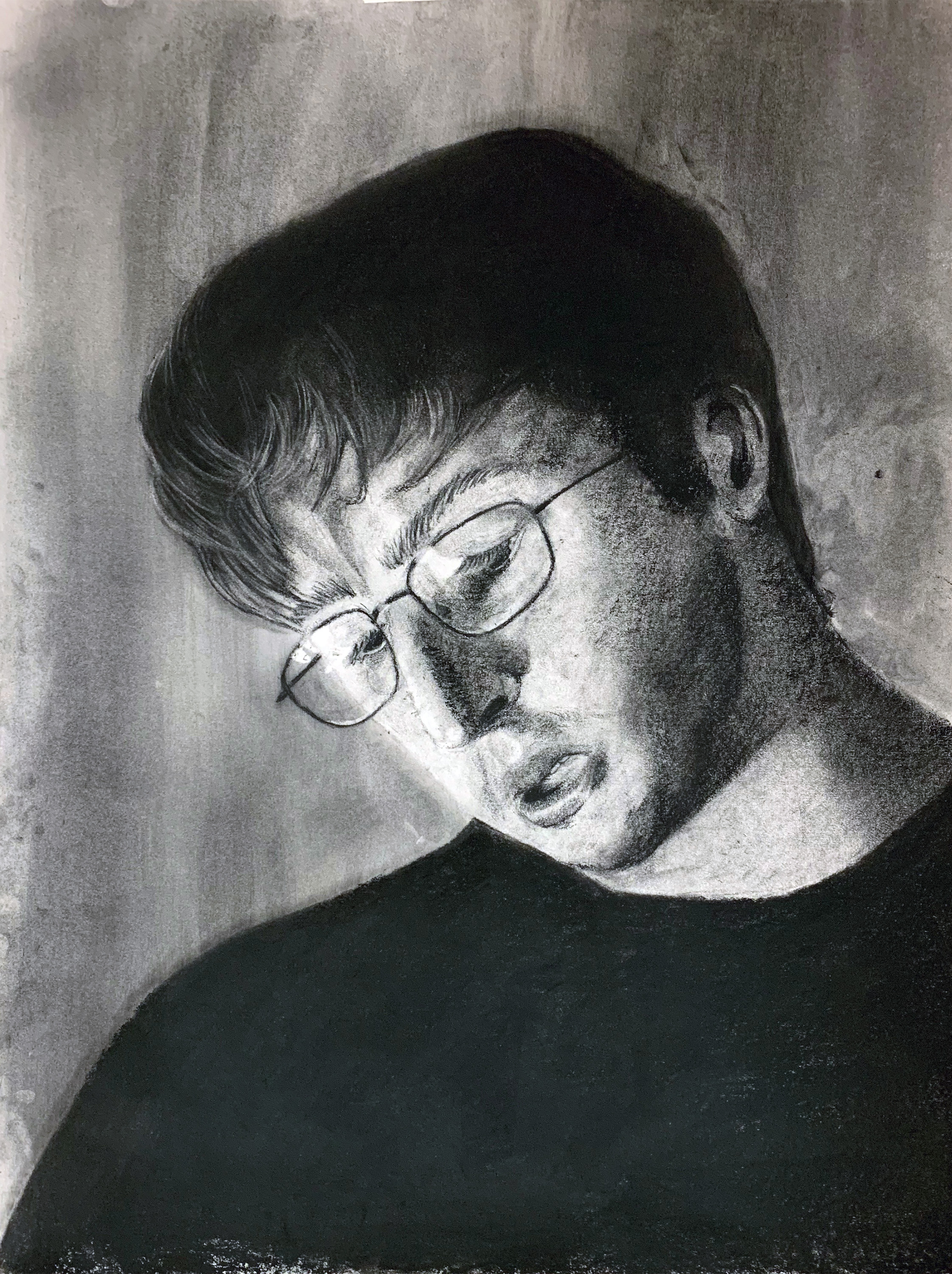 GENERAL DRAWING FOR NON MAJORS- Utica College    Final   Eight hour final portrait  Charcoal on Paper